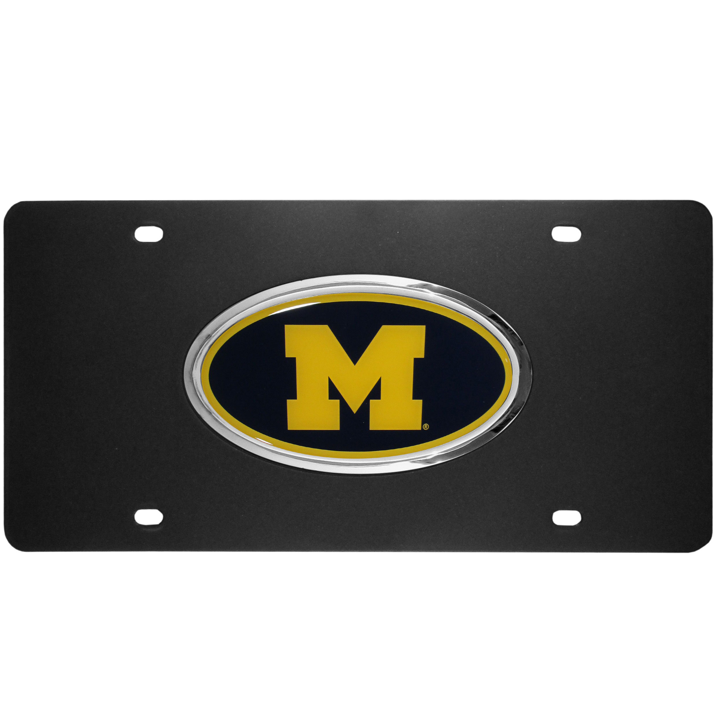 Michigan Wolverines Acrylic License Plate - Our Michigan Wolverines acrylic license plate is a step above the rest. It is made of thick, durable acrylic with a matte black finish and raised chrome saddle for the extra large team emblem.