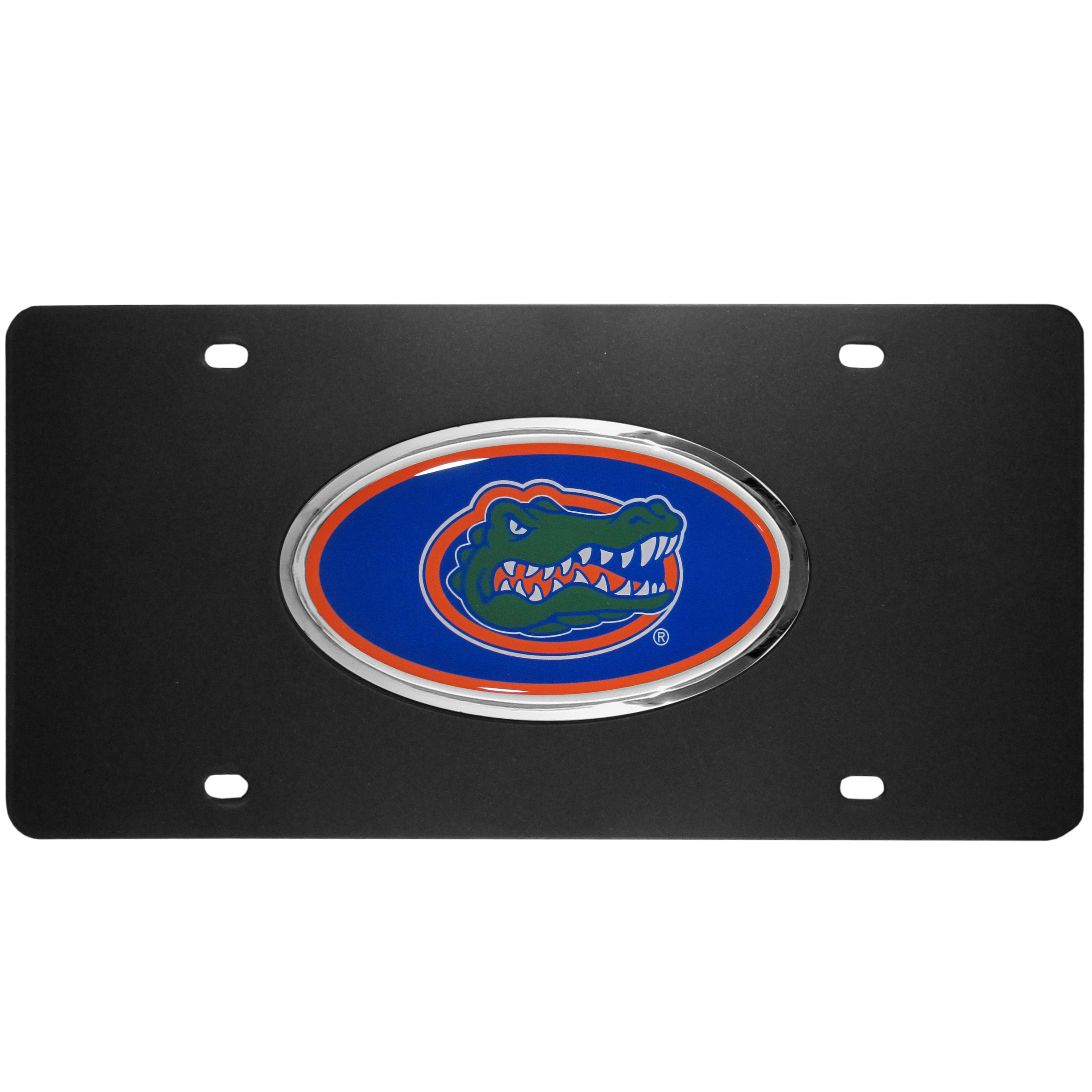 Florida Gators Acrylic License Plate - Our Florida Gators acrylic license plate is a step above the rest. It is made of thick, durable acrylic with a matte black finish and raised chrome saddle for the extra large team emblem.