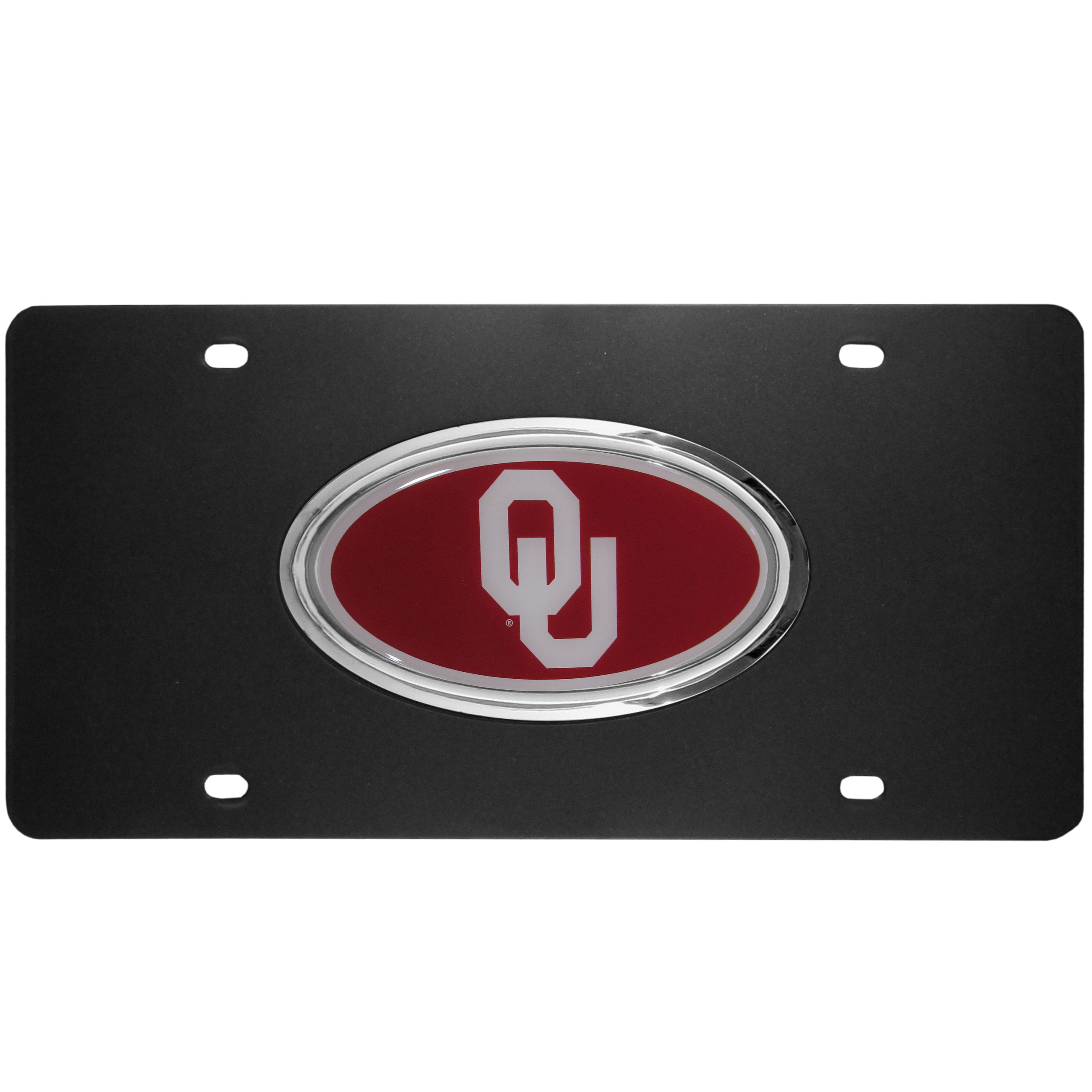 Oklahoma Sooners Acrylic License Plate - Our Oklahoma Sooners acrylic license plate is a step above the rest. It is made of thick, durable acrylic with a matte black finish and raised chrome saddle for the extra large team emblem.