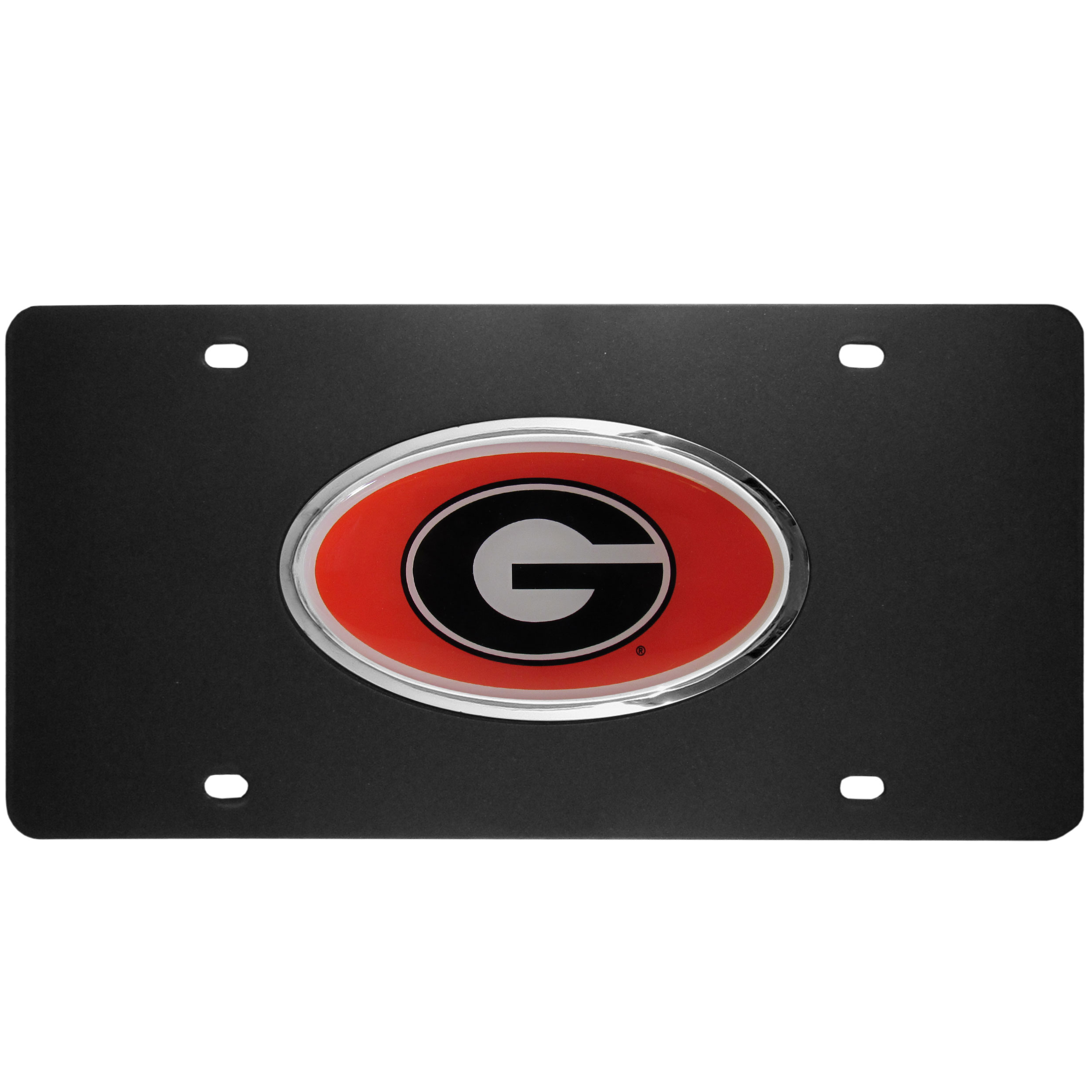 Georgia Bulldogs Acrylic License Plate - Our Georgia Bulldogs acrylic license plate is a step above the rest. It is made of thick, durable acrylic with a matte black finish and raised chrome saddle for the extra large team emblem.