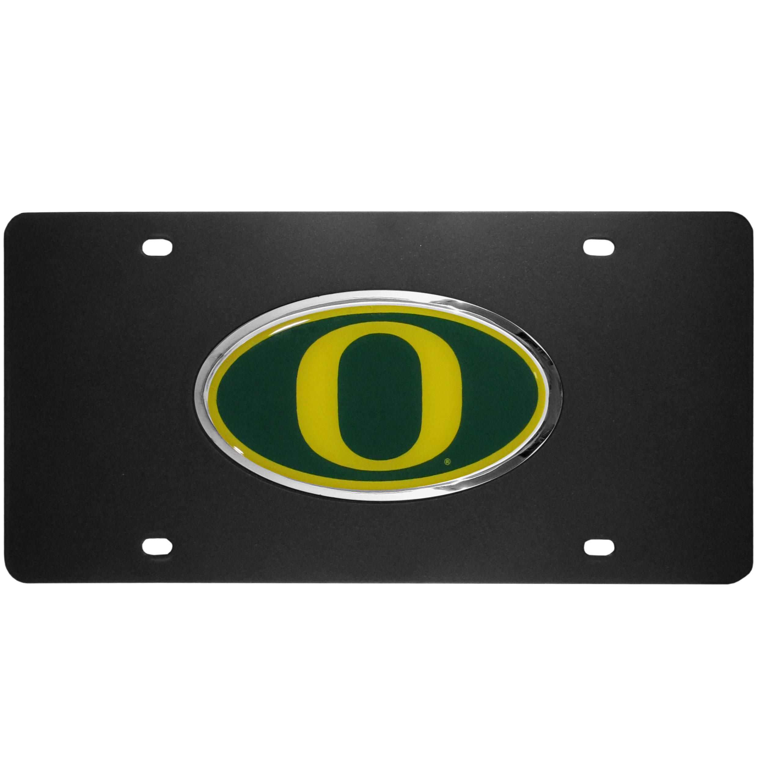 Oregon Ducks Acrylic License Plate - Our Oregon Ducks acrylic license plate is a step above the rest. It is made of thick, durable acrylic with a matte black finish and raised chrome saddle for the extra large team emblem.