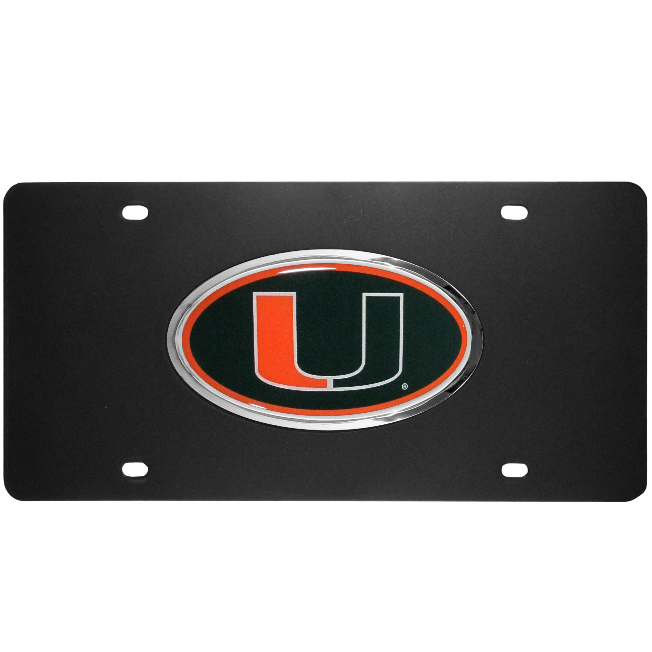 Miami Hurricanes Acrylic License Plate - Our Miami Hurricanes acrylic license plate is a step above the rest. It is made of thick, durable acrylic with a matte black finish and raised chrome saddle for the extra large team emblem.