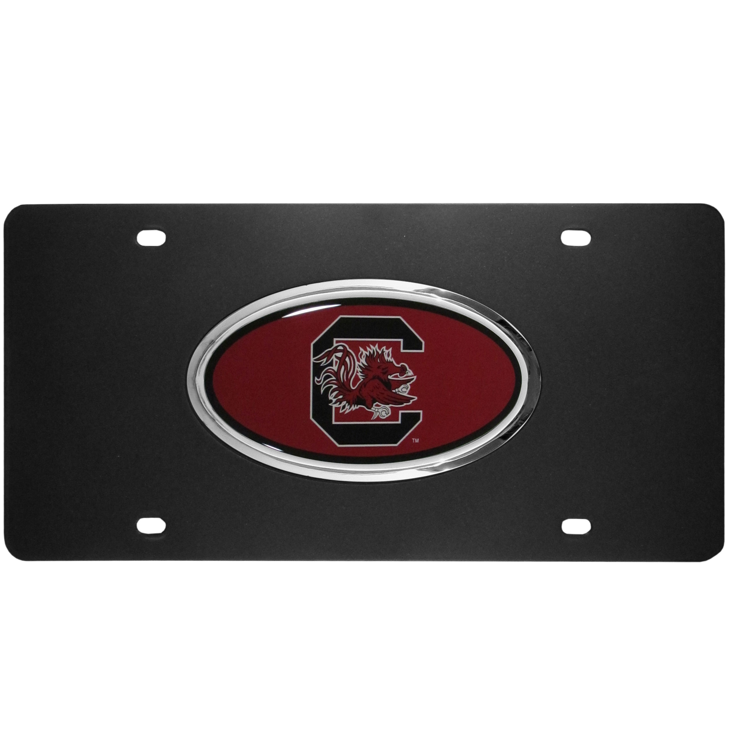 S. Carolina Gamecocks Acrylic License Plate - Our S. Carolina Gamecocks acrylic license plate is a step above the rest. It is made of thick, durable acrylic with a matte black finish and raised chrome saddle for the extra large team emblem.