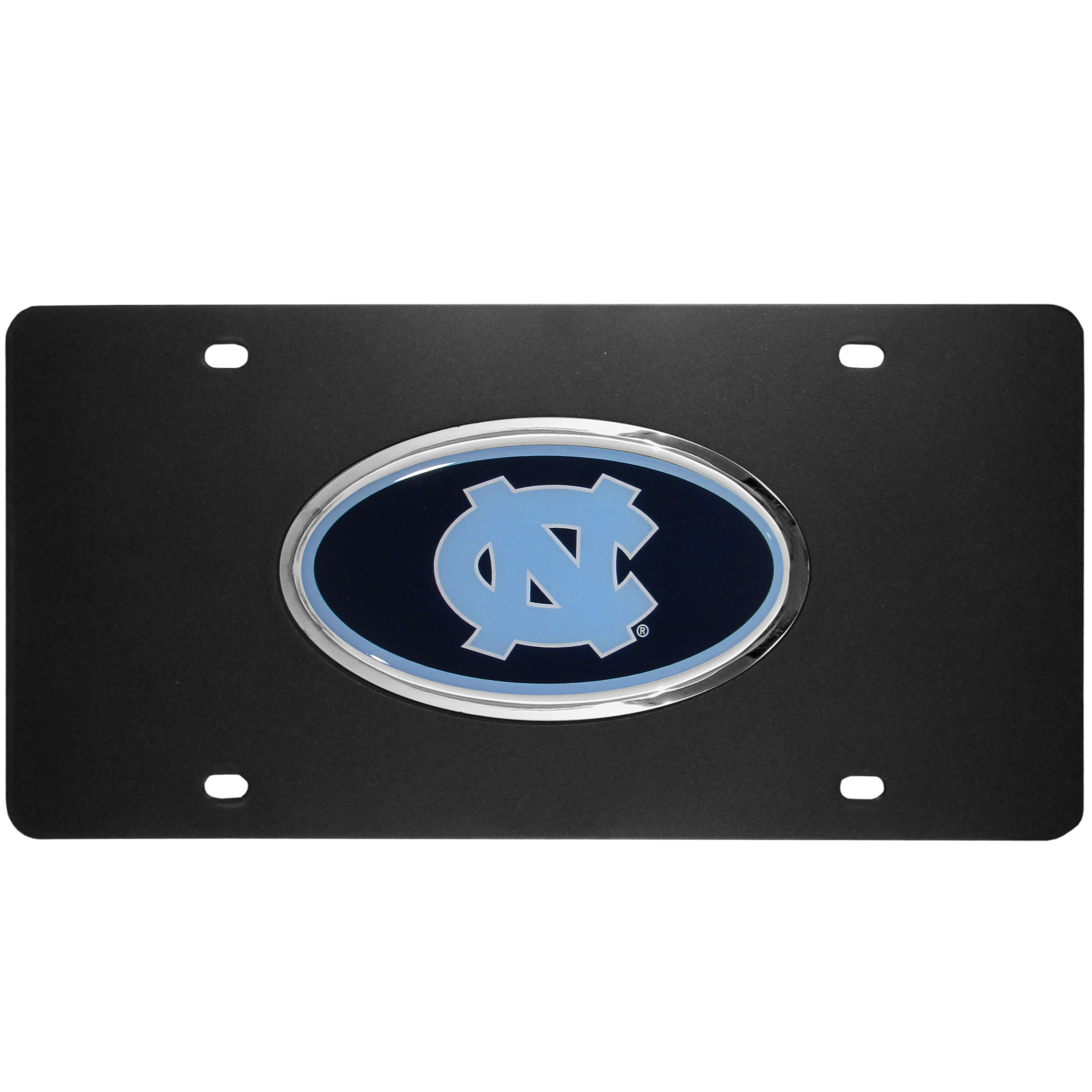 N. Carolina Tar Heels Acrylic License Plate - Our N. Carolina Tar Heels acrylic license plate is a step above the rest. It is made of thick, durable acrylic with a matte black finish and raised chrome saddle for the extra large team emblem.