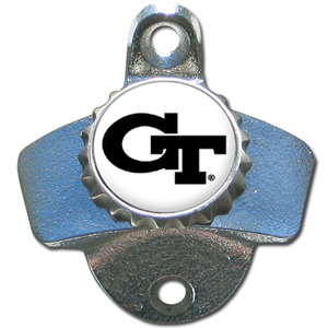 Wall Bottle Opener - Georgia Tech Yellow Jackets - This Georgia Tech Yellow Jackets sturdy wall mounted bottle opener is a great addition for your deck, garage or bar to show off your school spirit. Thank you for shopping with CrazedOutSports.com