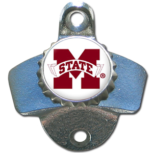Wall Bottle Opener - Mississippi St. Bulldogs - Our sturdy wall mounted bottle opener is a great addition for your deck, garage or bar to show off your school spirit. Thank you for shopping with CrazedOutSports.com