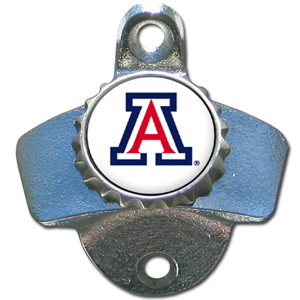 Wall Bottle Opener - Arizona Wildcats - Our sturdy wall mounted bottle opener is a great addition for your deck, garage or bar to show off your Arizona Wildcats school spirit. Thank you for shopping with CrazedOutSports.com