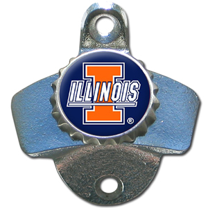 Wall Bottle Opener - Illinois Fighting Illini - This sturdy Illinois Fighting Illini wall mounted bottle opener is a great addition for your deck, garage or bar to show off your school spirit. Thank you for shopping with CrazedOutSports.com