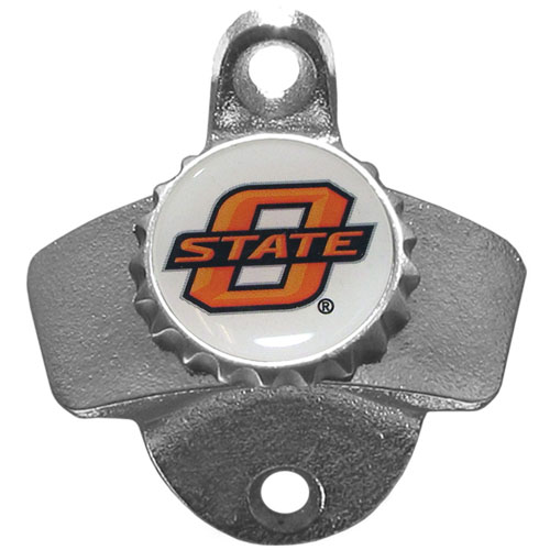 Wall Bottle Opener - Oklahoma St. Cowboys - Our sturdy wall mounted bottle opener is a great addition for your deck, garage or bar to show off your school spirit. Thank you for shopping with CrazedOutSports.com