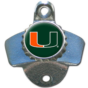 Miami Hurricanes Wall Bottle Opener - This sturdy wall mounted Miami Hurricanes Wall Bottle Opener is a great addition for your deck, garage or bar to show off your school spirit. Thank you for shopping with CrazedOutSports.com