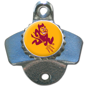 Wall Bottle Opener - Arizona St. Sun Devils - Our Arizona State Sun Devils sturdy wall mounted bottle opener is a great addition for your deck, garage or bar to show off your school spirit. Thank you for shopping with CrazedOutSports.com
