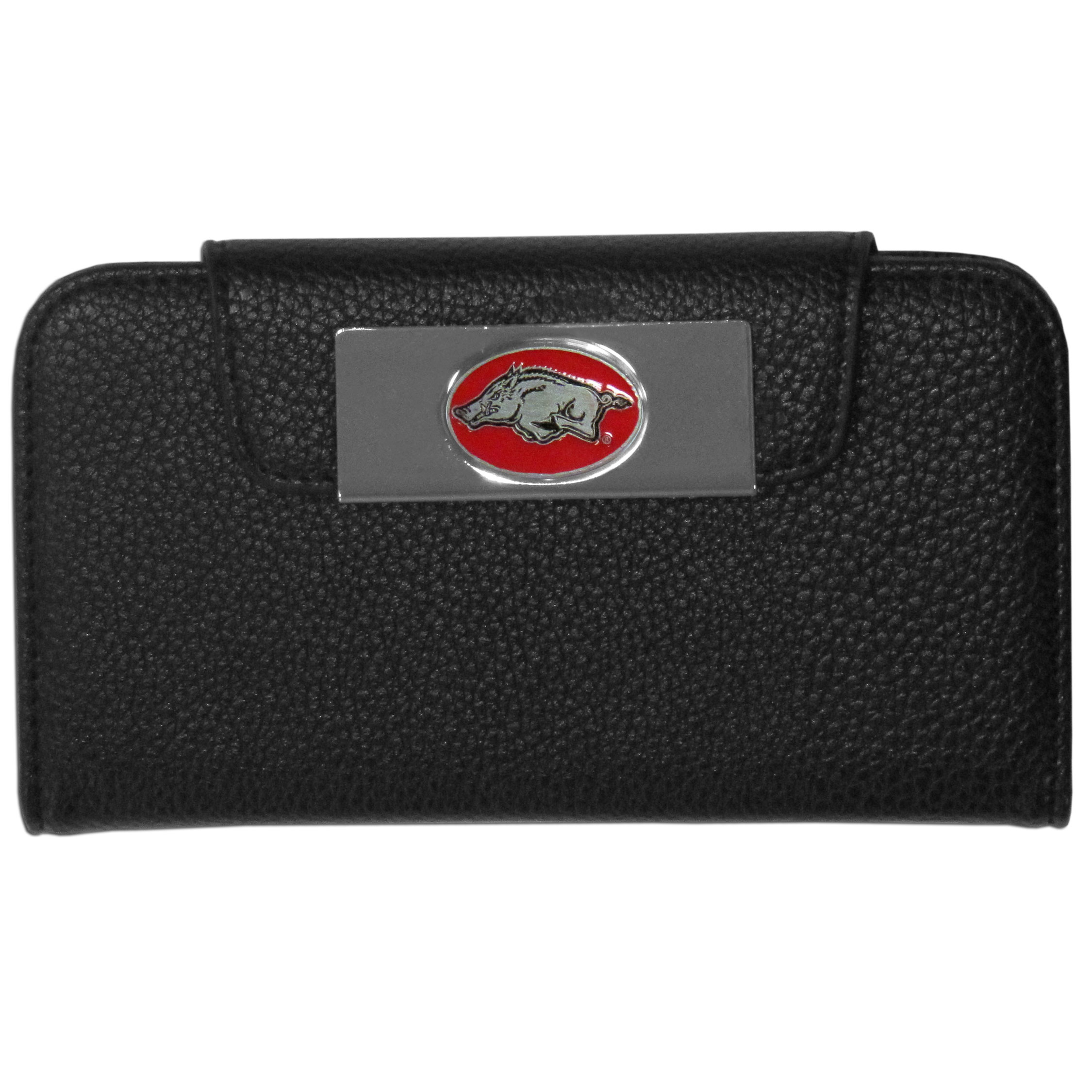 Arkansas Razorbacks iPhone 5/5S Wallet Case - This new & wildly popular case is ideal for those who like to travel light! The stylish case has an inner hard shell that securely holds your phone while allowing complete access to the phone's functionality. The flip cover has slots for credit cards, business cards and identification. The magnetic flip cover has a metal Arkansas Razorbacks emblem on a high polish chrome backing. Fits the iPhone 5/5S