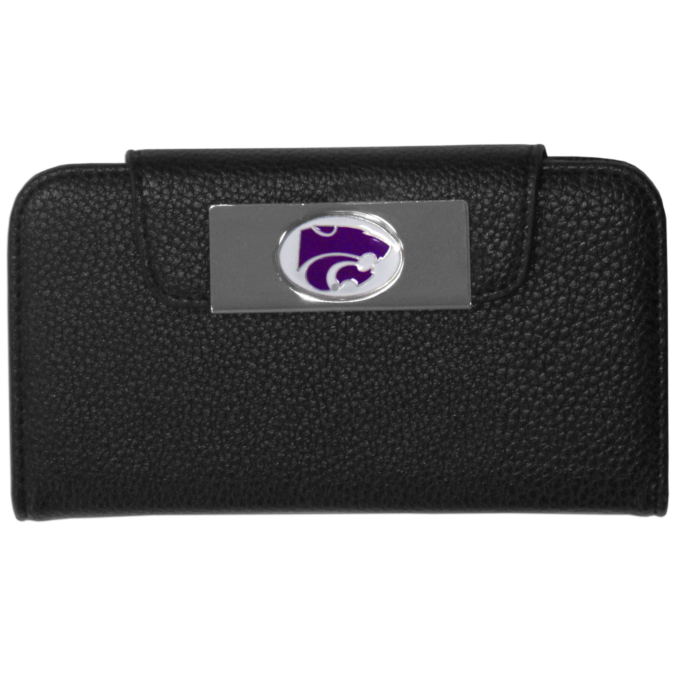 Kansas St. Wildcats iPhone 5/5S Wallet Case - This new & wildly popular case is ideal for those who like to travel light! The stylish case has an inner hard shell that securely holds your phone while allowing complete access to the phone's functionality. The flip cover has slots for credit cards, business cards and identification. The magnetic flip cover has a metal Kansas St. Wildcats emblem on a high polish chrome backing. Fits the iPhone 5/5S