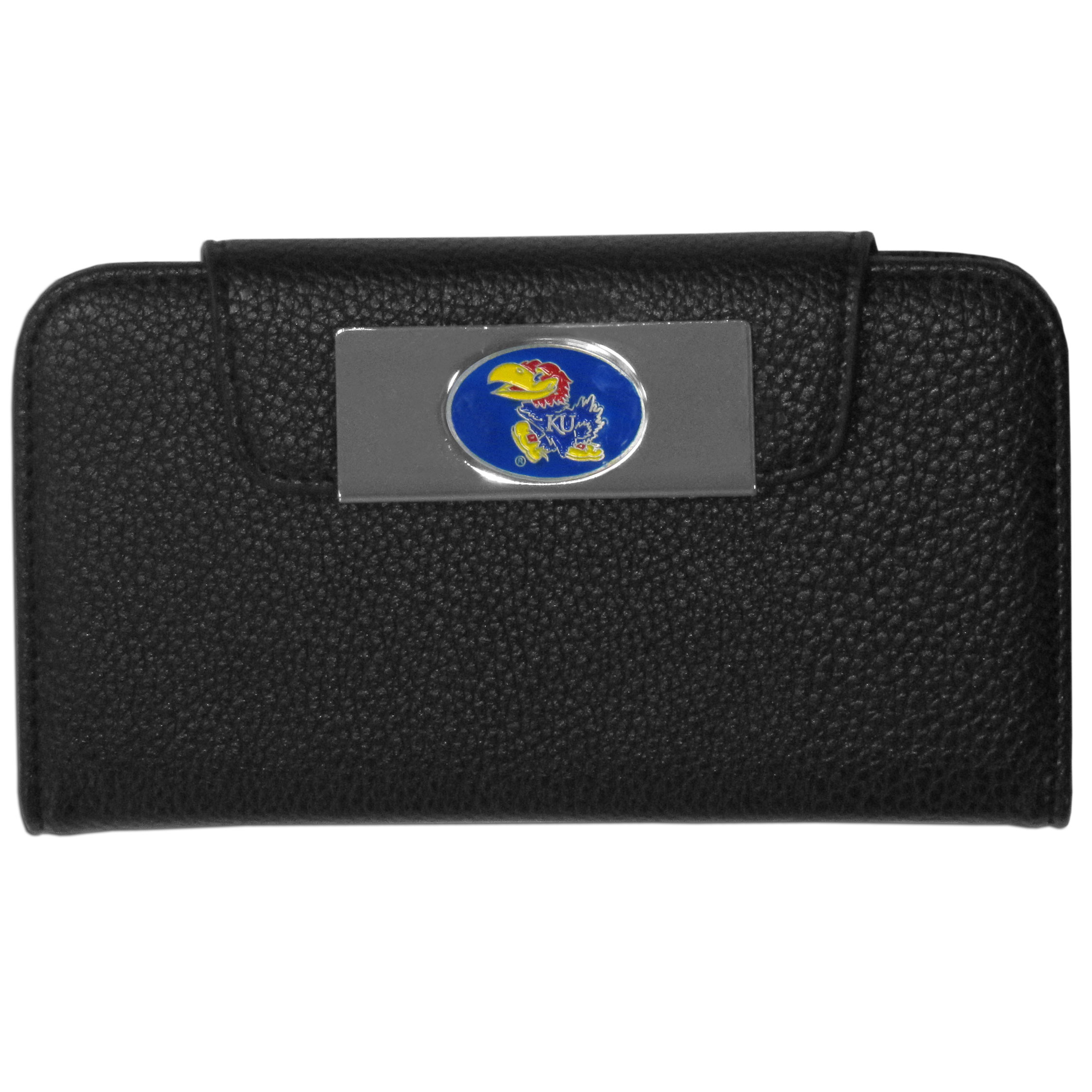 Kansas Jayhawks iPhone 5/5S Wallet Case - This new & wildly popular case is ideal for those who like to travel light! The stylish case has an inner hard shell that securely holds your phone while allowing complete access to the phone's functionality. The flip cover has slots for credit cards, business cards and identification. The magnetic flip cover has a metal Kansas Jayhawks emblem on a high polish chrome backing. Fits the iPhone 5/5S