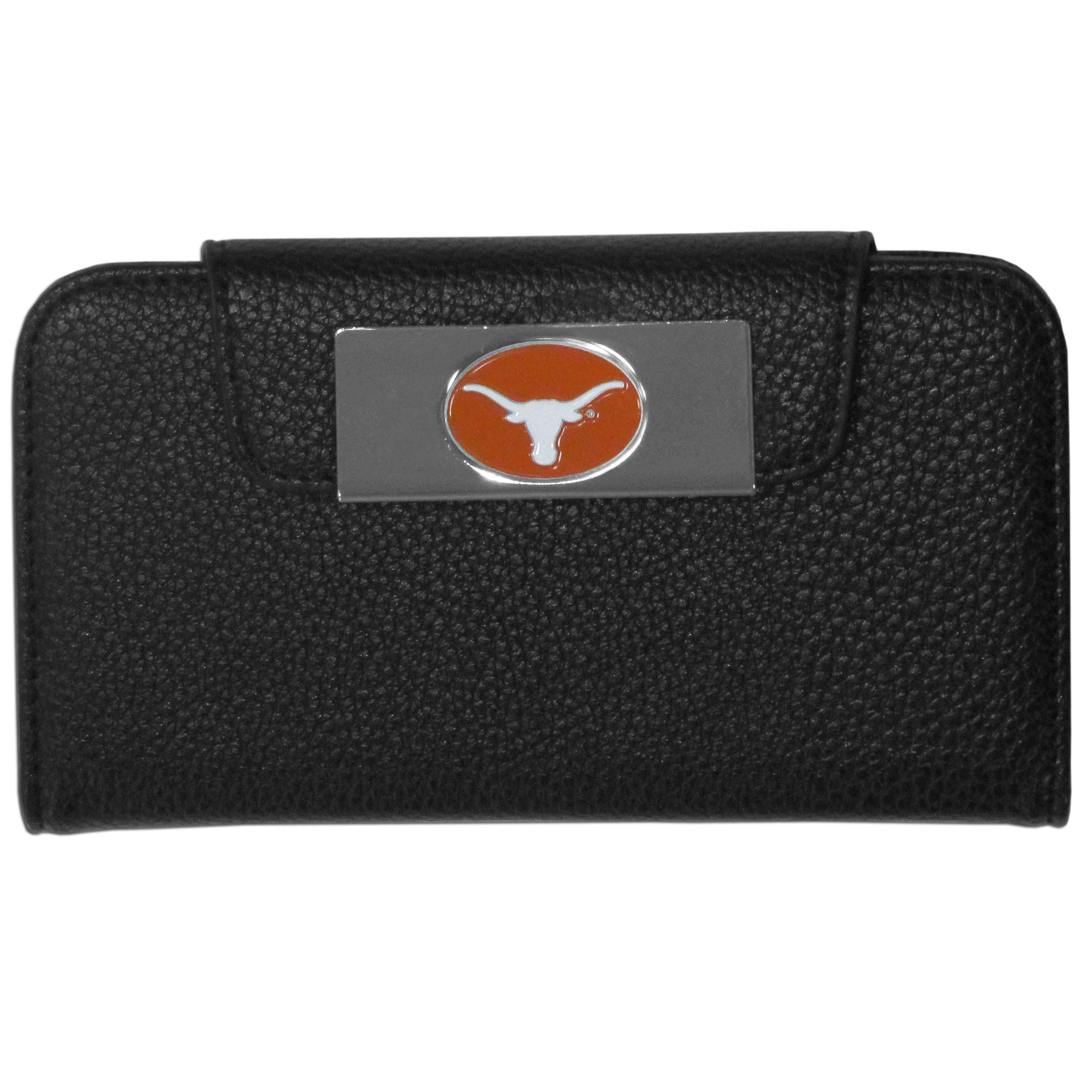 Texas Longhorns iPhone 5/5S Wallet Case - This new & wildly popular case is ideal for those who like to travel light! The stylish case has an inner hard shell that securely holds your phone while allowing complete access to the phone's functionality. The flip cover has slots for credit cards, business cards and identification. The magnetic flip cover has a metal Texas Longhorns emblem on a high polish chrome backing. Fits the iPhone 5/5S