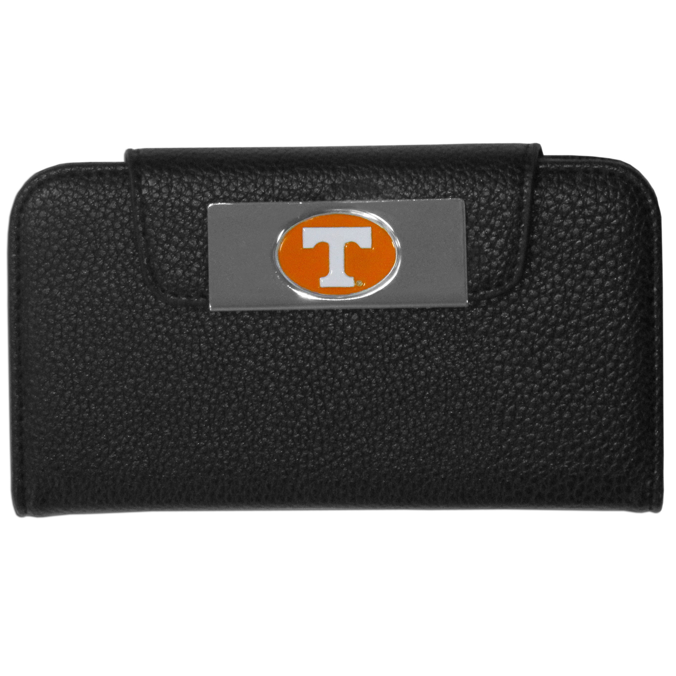 Tennessee Volunteers iPhone 5/5S Wallet Case - This new & wildly popular case is ideal for those who like to travel light! The stylish case has an inner hard shell that securely holds your phone while allowing complete access to the phone's functionality. The flip cover has slots for credit cards, business cards and identification. The magnetic flip cover has a metal Tennessee Volunteers emblem on a high polish chrome backing. Fits the iPhone 5/5S