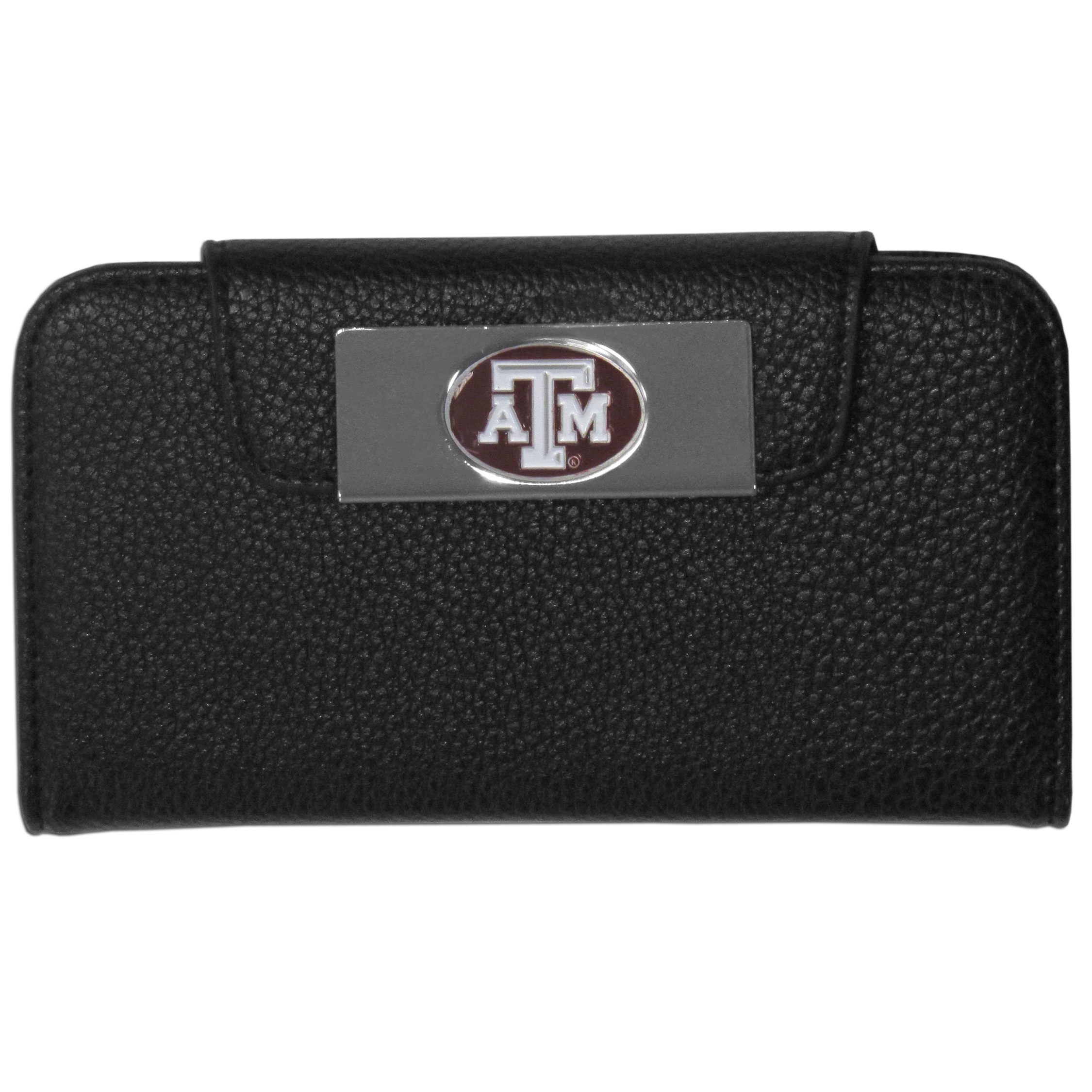Texas A and M Aggies iPhone 5/5S Wallet Case - This new & wildly popular case is ideal for those who like to travel light! The stylish case has an inner hard shell that securely holds your phone while allowing complete access to the phone's functionality. The flip cover has slots for credit cards, business cards and identification. The magnetic flip cover has a metal Texas A & M Aggies emblem on a high polish chrome backing. Fits the iPhone 5/5S