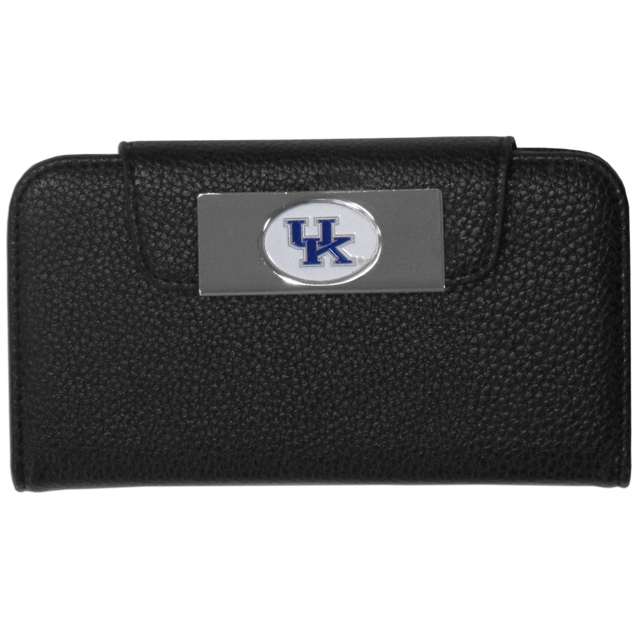 Kentucky Wildcats iPhone 5/5S Wallet Case - This new & wildly popular case is ideal for those who like to travel light! The stylish case has an inner hard shell that securely holds your phone while allowing complete access to the phone's functionality. The flip cover has slots for credit cards, business cards and identification. The magnetic flip cover has a metal Kentucky Wildcats emblem on a high polish chrome backing. Fits the iPhone 5/5S
