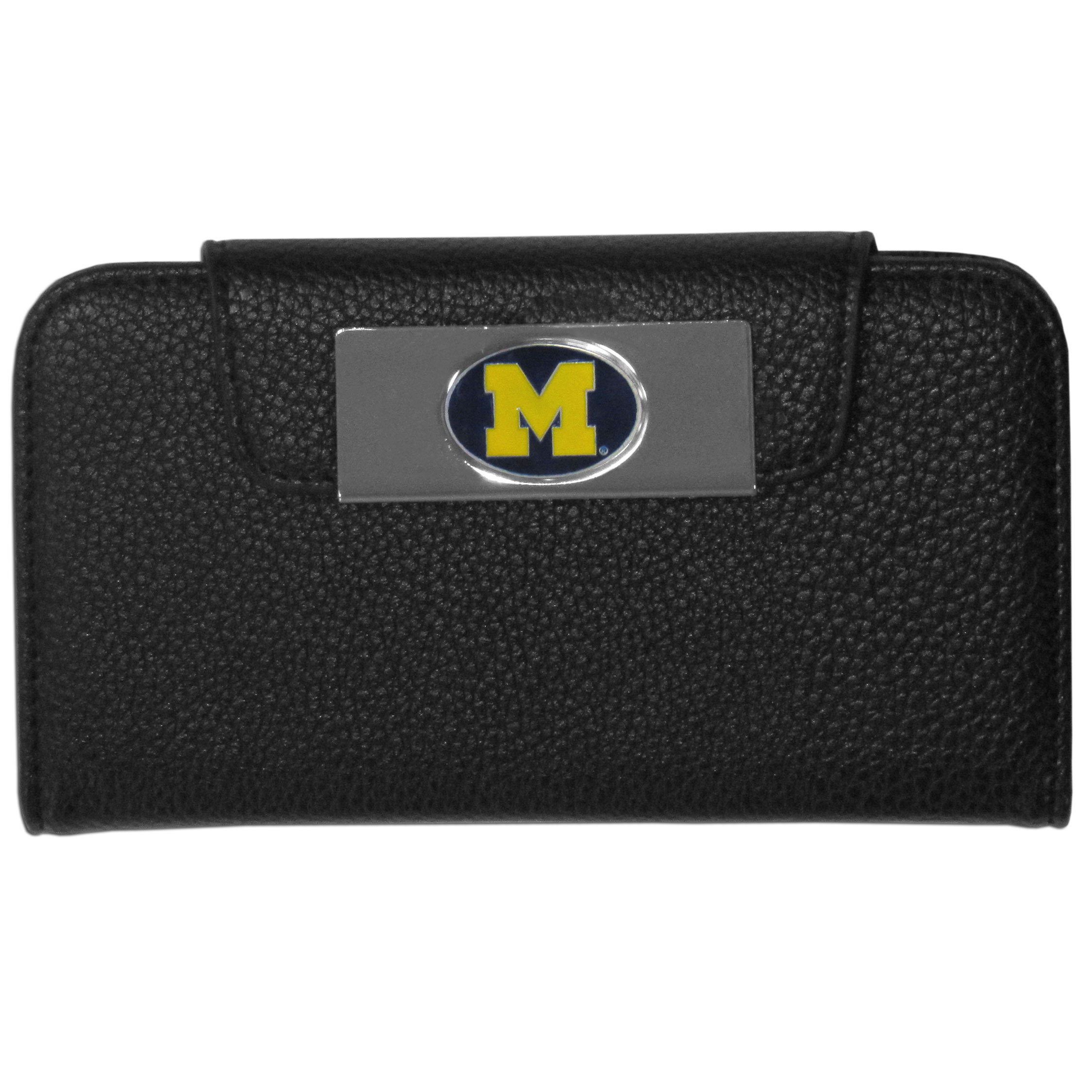 Michigan Wolverines iPhone 5/5S Wallet Case - This new & wildly popular case is ideal for those who like to travel light! The stylish case has an inner hard shell that securely holds your phone while allowing complete access to the phone's functionality. The flip cover has slots for credit cards, business cards and identification. The magnetic flip cover has a metal Michigan Wolverines emblem on a high polish chrome backing. Fits the iPhone 5/5S