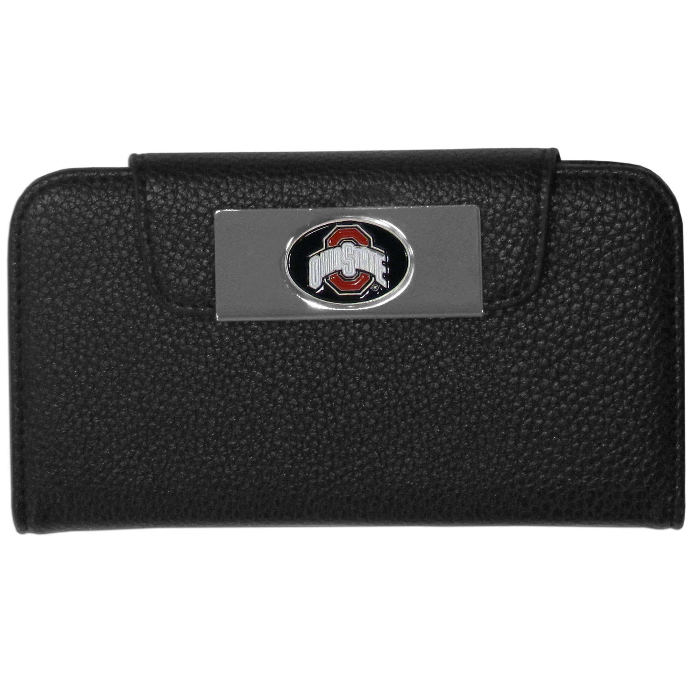Ohio St. Buckeyes iPhone 5/5S Wallet Case - This new & wildly popular case is ideal for those who like to travel light! The stylish case has an inner hard shell that securely holds your phone while allowing complete access to the phone's functionality. The flip cover has slots for credit cards, business cards and identification. The magnetic flip cover has a metal Ohio St. Buckeyes emblem on a high polish chrome backing. Fits the iPhone 5/5S