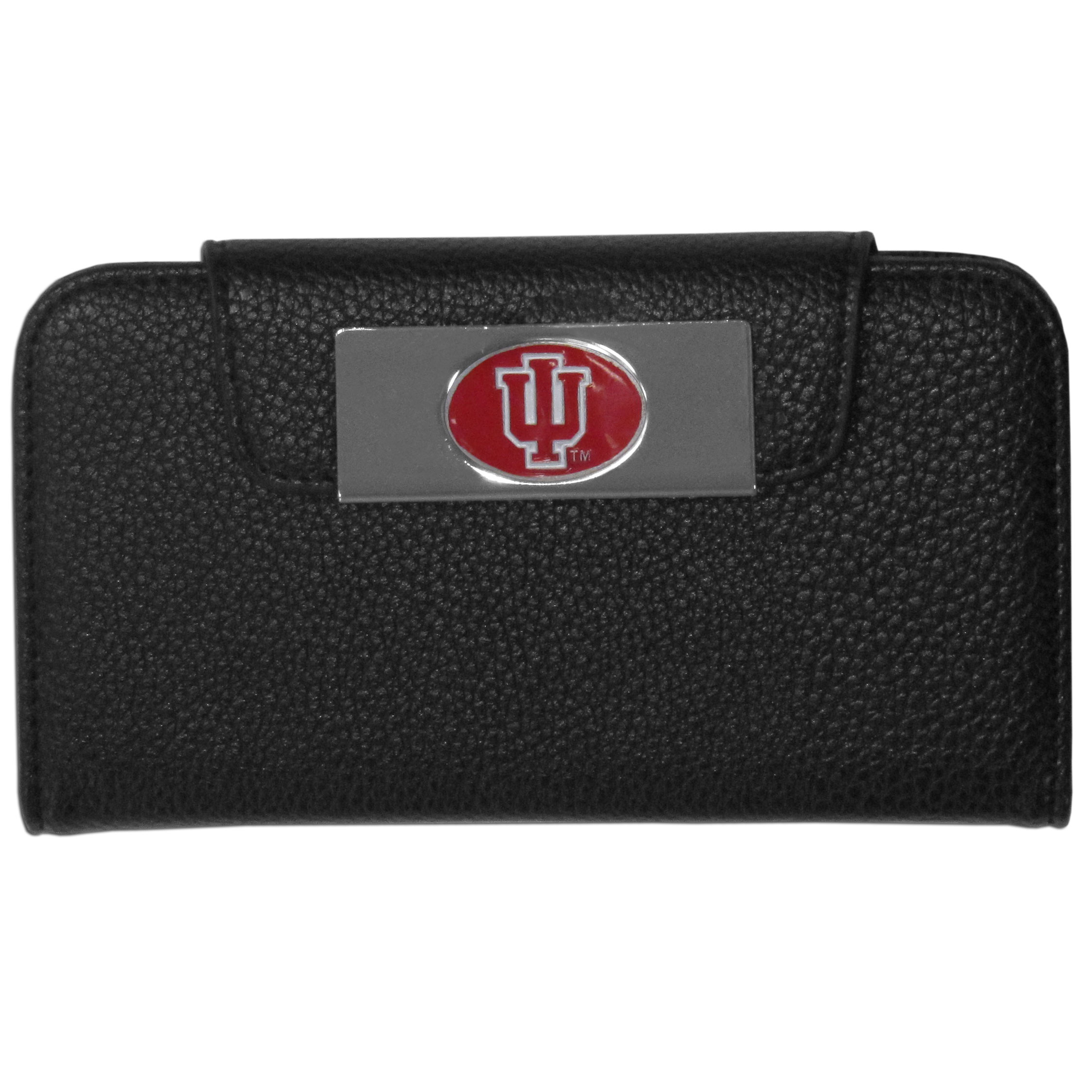Indiana Hoosiers iPhone 5/5S Wallet Case - This new & wildly popular case is ideal for those who like to travel light! The stylish case has an inner hard shell that securely holds your phone while allowing complete access to the phone's functionality. The flip cover has slots for credit cards, business cards and identification. The magnetic flip cover has a metal Indiana Hoosiers emblem on a high polish chrome backing. Fits the iPhone 5/5S
