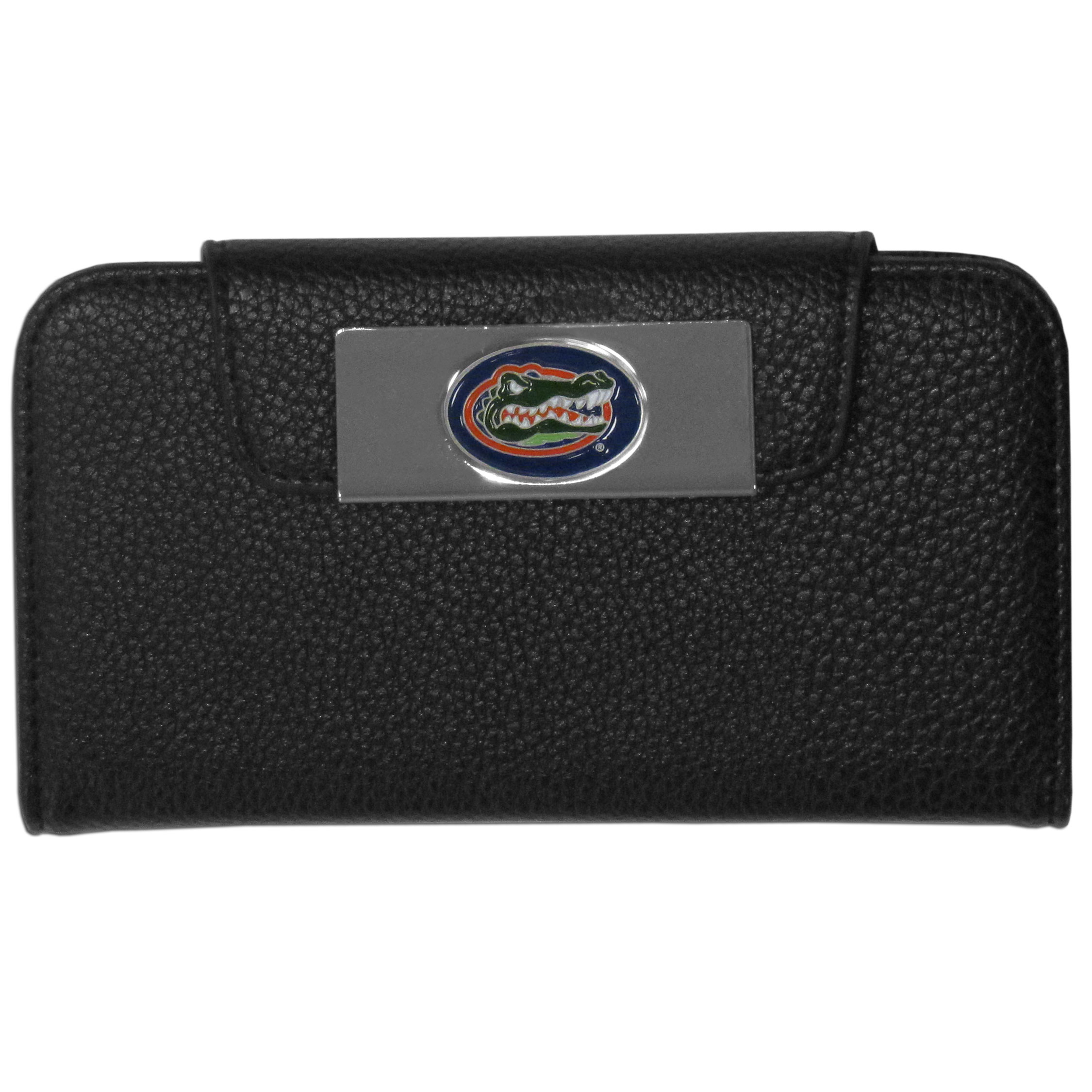 Florida Gators iPhone 5/5S Wallet Case - This new & wildly popular case is ideal for those who like to travel light! The stylish case has an inner hard shell that securely holds your phone while allowing complete access to the phone's functionality. The flip cover has slots for credit cards, business cards and identification. The magnetic flip cover has a metal Florida Gators emblem on a high polish chrome backing. Fits the iPhone 5/5S