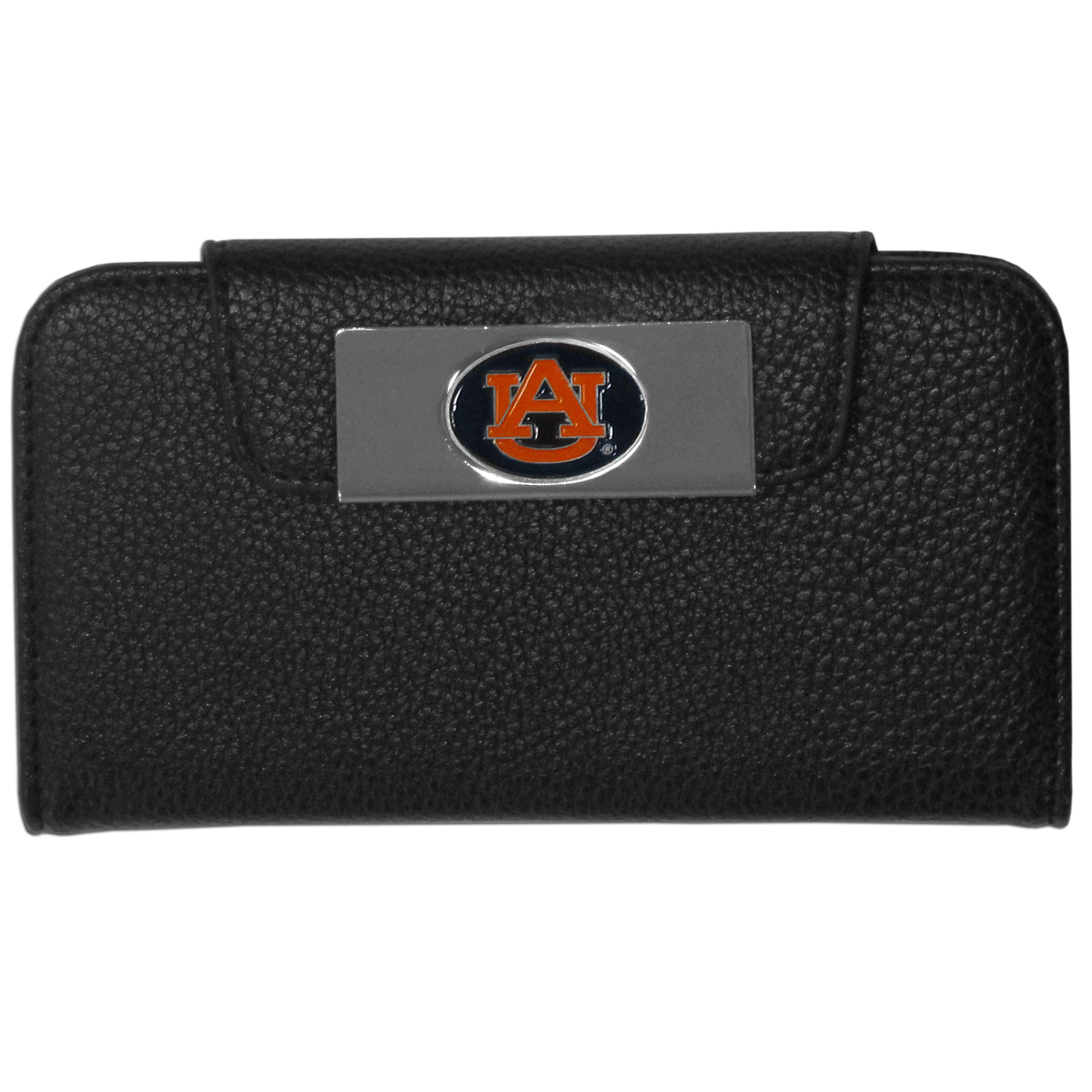 Auburn Tigers iPhone 5/5S Wallet Case - This new & wildly popular case is ideal for those who like to travel light! The stylish case has an inner hard shell that securely holds your phone while allowing complete access to the phone's functionality. The flip cover has slots for credit cards, business cards and identification. The magnetic flip cover has a metal Auburn Tigers emblem on a high polish chrome backing. Fits the iPhone 5/5S