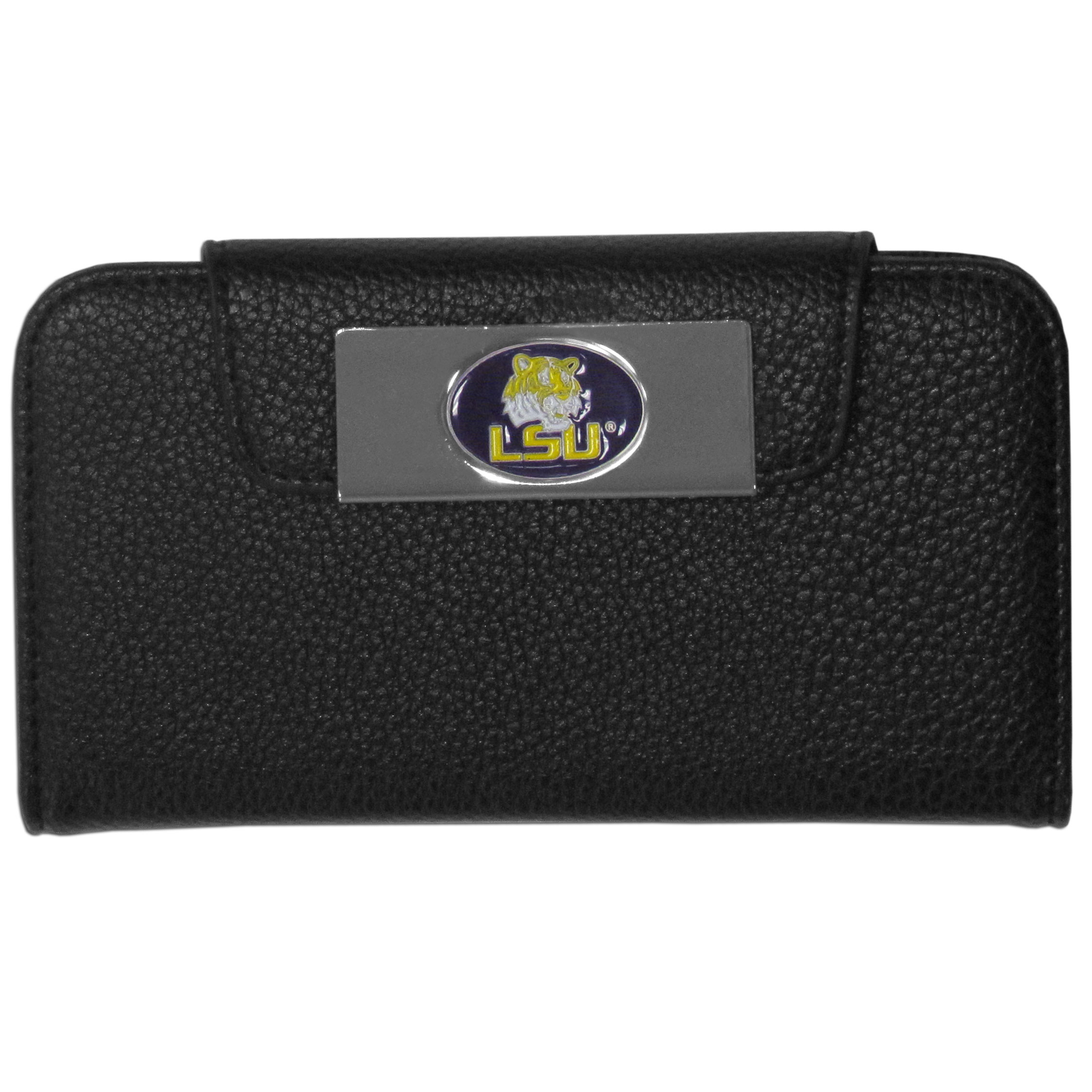 LSU Tigers iPhone 5/5S Wallet Case - This new & wildly popular case is ideal for those who like to travel light! The stylish case has an inner hard shell that securely holds your phone while allowing complete access to the phone's functionality. The flip cover has slots for credit cards, business cards and identification. The magnetic flip cover has a metal LSU Tigers emblem on a high polish chrome backing. Fits the iPhone 5/5S