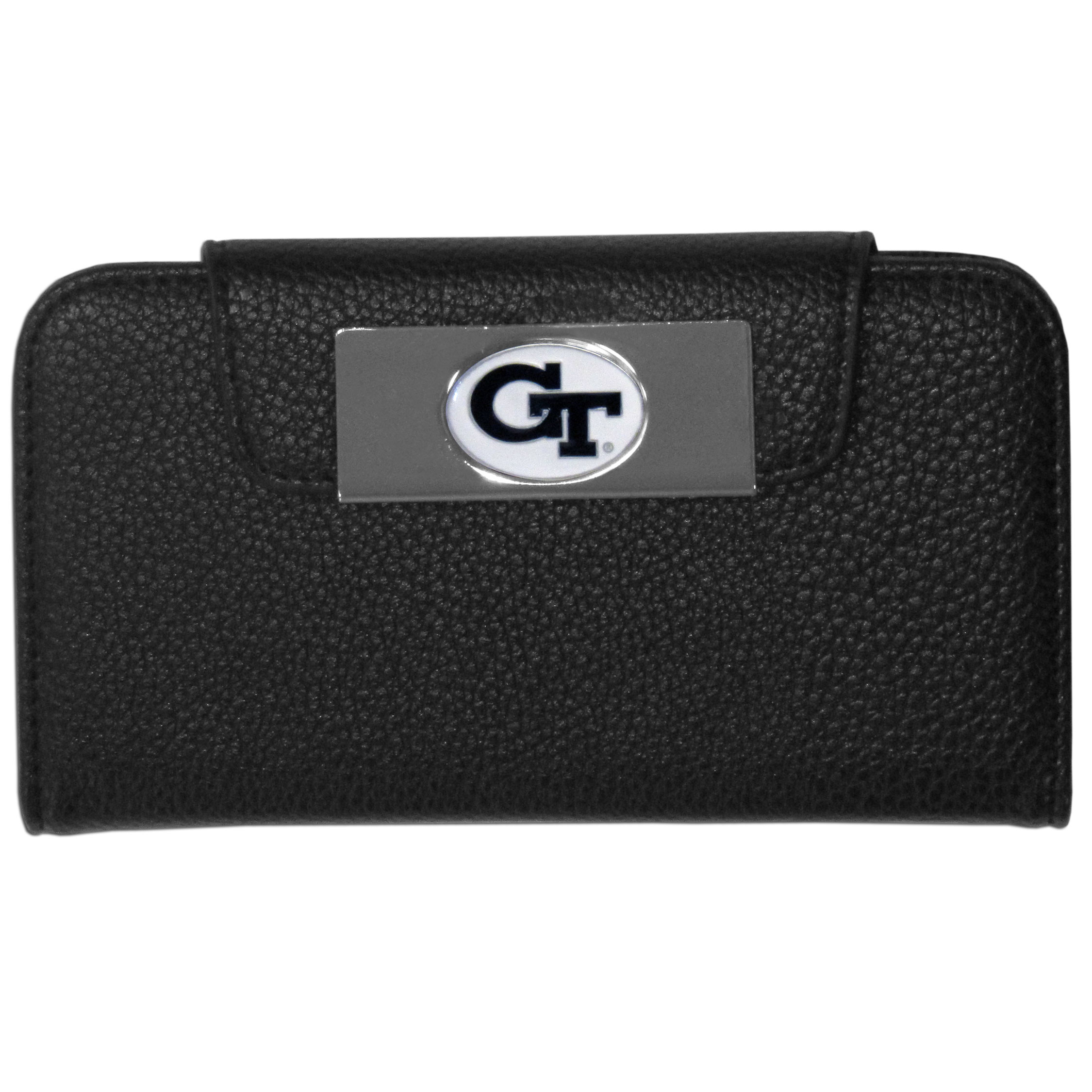 Georgia Tech Yellow Jackets iPhone 5/5S Wallet Case - This new & wildly popular case is ideal for those who like to travel light! The stylish case has an inner hard shell that securely holds your phone while allowing complete access to the phone's functionality. The flip cover has slots for credit cards, business cards and identification. The magnetic flip cover has a metal Georgia Tech Yellow Jackets emblem on a high polish chrome backing. Fits the iPhone 5/5S