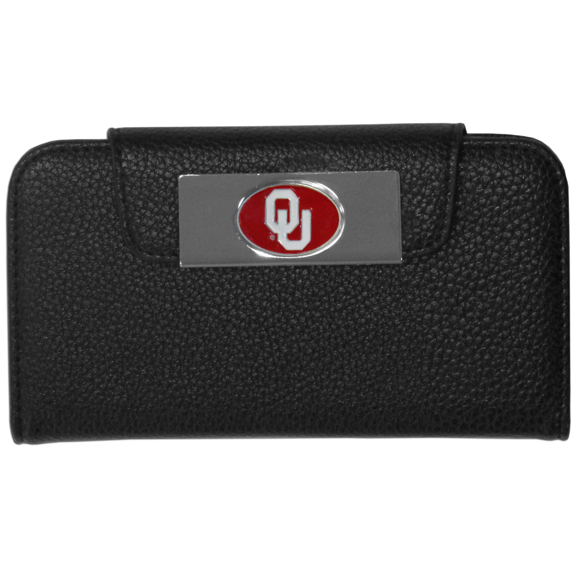 Oklahoma Sooners iPhone 5/5S Wallet Case - This new & wildly popular case is ideal for those who like to travel light! The stylish case has an inner hard shell that securely holds your phone while allowing complete access to the phone's functionality. The flip cover has slots for credit cards, business cards and identification. The magnetic flip cover has a metal Oklahoma Sooners emblem on a high polish chrome backing. Fits the iPhone 5/5S