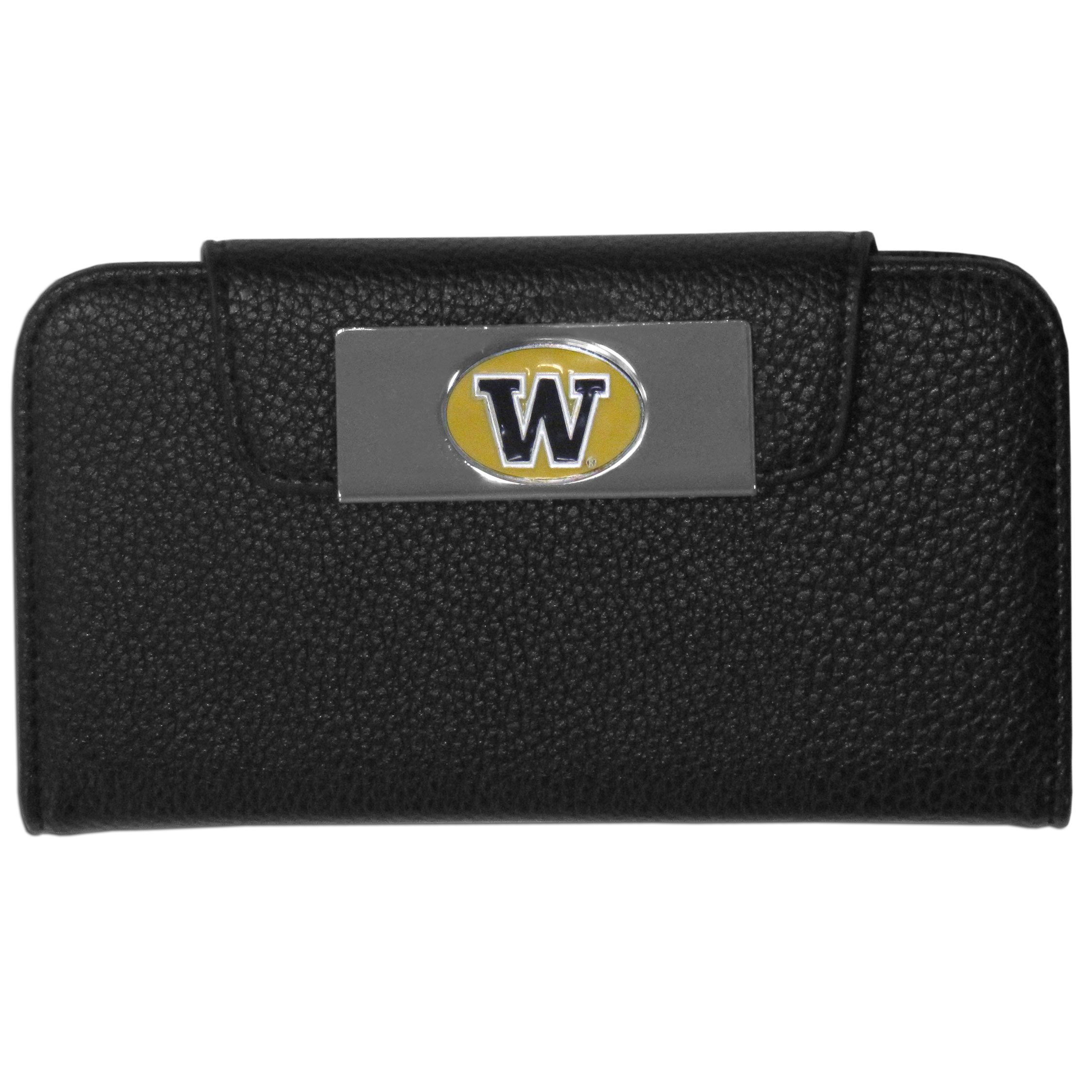 Washington Huskies iPhone 5/5S Wallet Case - This new & wildly popular case is ideal for those who like to travel light! The stylish case has an inner hard shell that securely holds your phone while allowing complete access to the phone's functionality. The flip cover has slots for credit cards, business cards and identification. The magnetic flip cover has a metal Washington Huskies emblem on a high polish chrome backing. Fits the iPhone 5/5S