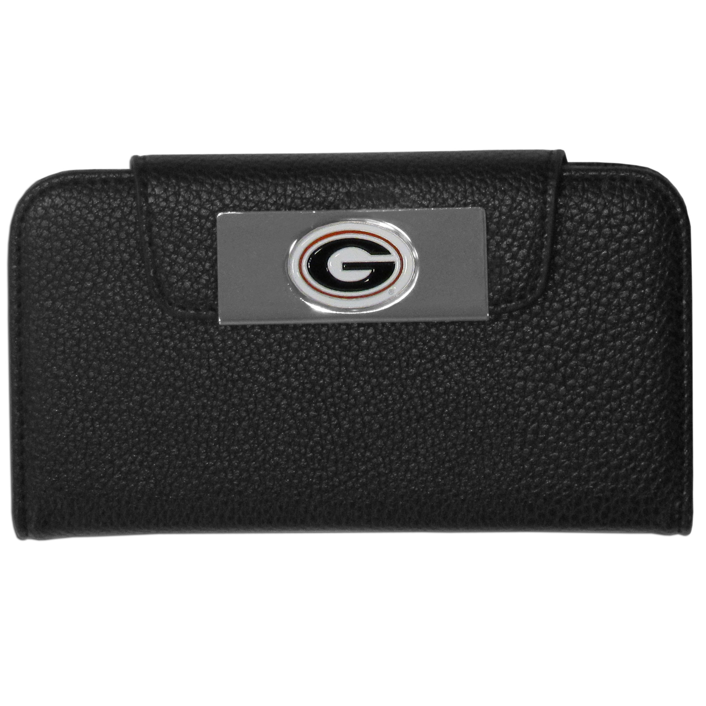 Georgia Bulldogs iPhone 5/5S Wallet Case - This new & wildly popular case is ideal for those who like to travel light! The stylish case has an inner hard shell that securely holds your phone while allowing complete access to the phone's functionality. The flip cover has slots for credit cards, business cards and identification. The magnetic flip cover has a metal Georgia Bulldogs emblem on a high polish chrome backing. Fits the iPhone 5/5S