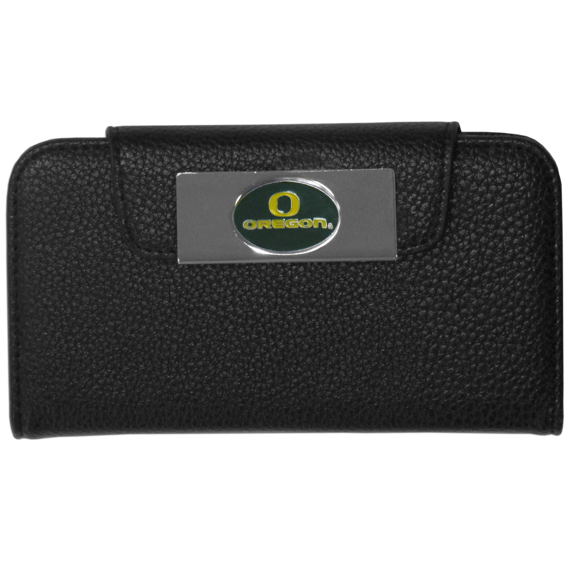 Oregon Ducks iPhone 5/5S Wallet Case - This new & wildly popular case is ideal for those who like to travel light! The stylish case has an inner hard shell that securely holds your phone while allowing complete access to the phone's functionality. The flip cover has slots for credit cards, business cards and identification. The magnetic flip cover has a metal Oregon Ducks emblem on a high polish chrome backing. Fits the iPhone 5/5S