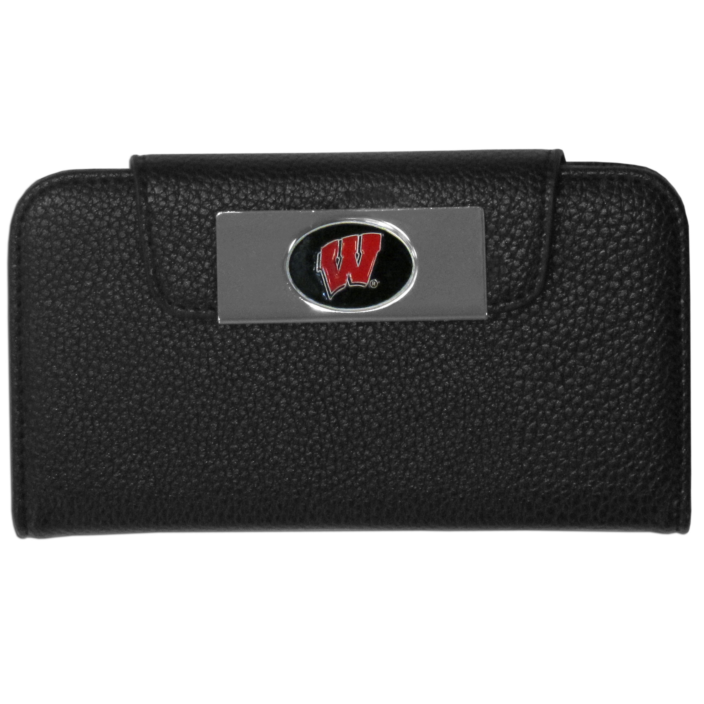 Wisconsin Badgers iPhone 5/5S Wallet Case - This new & wildly popular case is ideal for those who like to travel light! The stylish case has an inner hard shell that securely holds your phone while allowing complete access to the phone's functionality. The flip cover has slots for credit cards, business cards and identification. The magnetic flip cover has a metal Wisconsin Badgers emblem on a high polish chrome backing. Fits the iPhone 5/5S