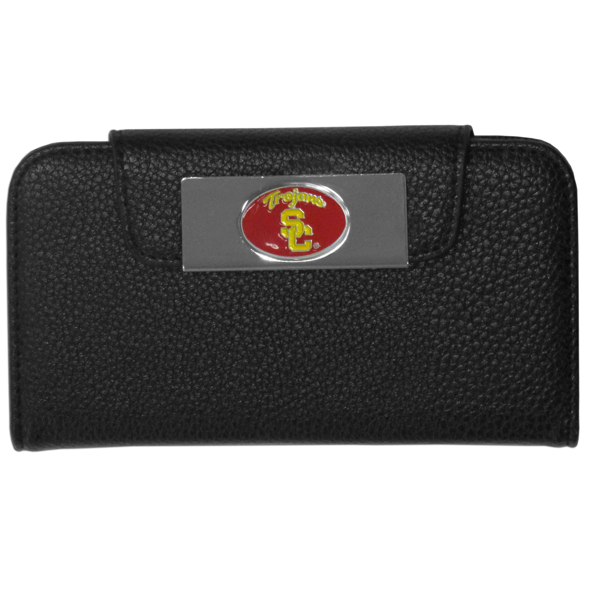 USC Trojans iPhone 5/5S Wallet Case - This new & wildly popular case is ideal for those who like to travel light! The stylish case has an inner hard shell that securely holds your phone while allowing complete access to the phone's functionality. The flip cover has slots for credit cards, business cards and identification. The magnetic flip cover has a metal USC Trojans emblem on a high polish chrome backing. Fits the iPhone 5/5S