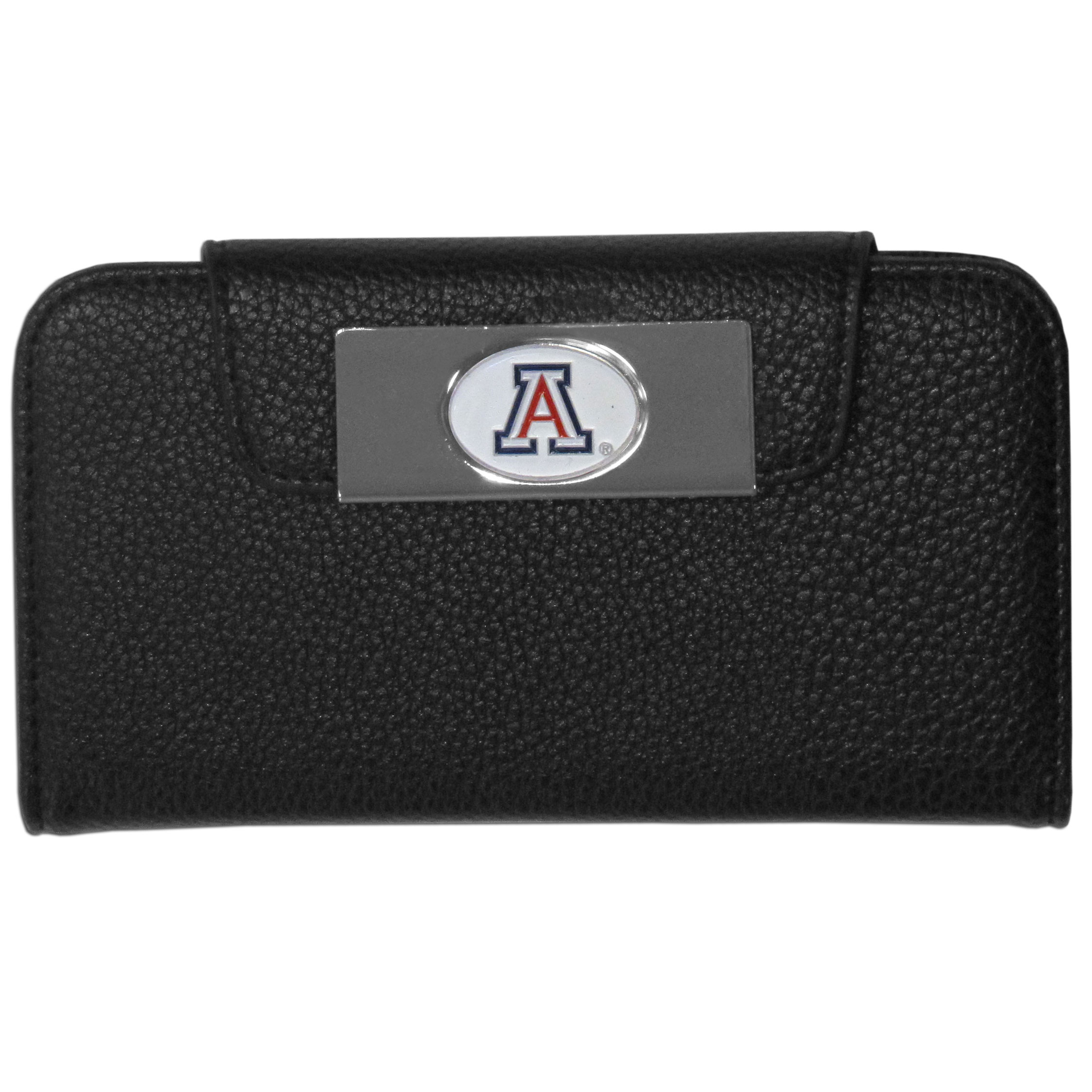 Arizona Wildcats iPhone 5/5S Wallet Case - This new & wildly popular case is ideal for those who like to travel light! The stylish case has an inner hard shell that securely holds your phone while allowing complete access to the phone's functionality. The flip cover has slots for credit cards, business cards and identification. The magnetic flip cover has a metal Arizona Wildcats emblem on a high polish chrome backing. Fits the iPhone 5/5S