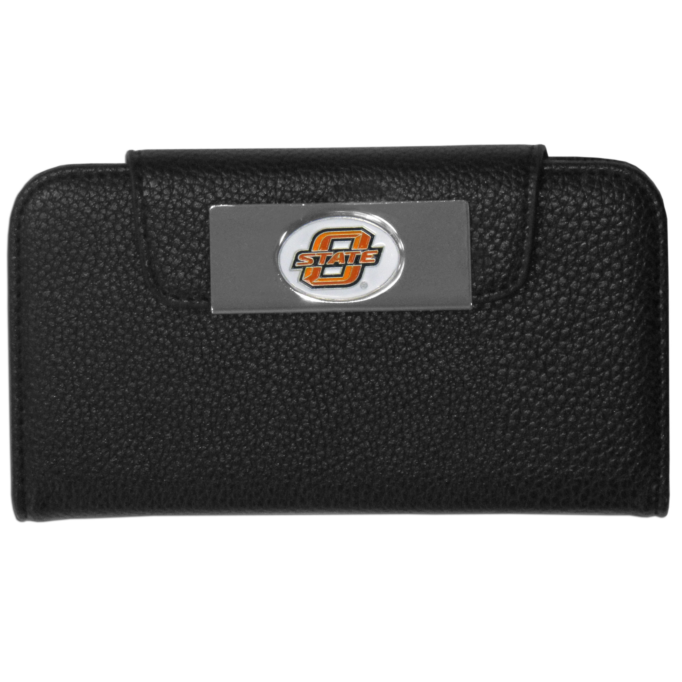 Oklahoma State Cowboys iPhone 5/5S Wallet Case - This new & wildly popular case is ideal for those who like to travel light! The stylish case has an inner hard shell that securely holds your phone while allowing complete access to the phone's functionality. The flip cover has slots for credit cards, business cards and identification. The magnetic flip cover has a metal Oklahoma State Cowboys emblem on a high polish chrome backing. Fits the iPhone 5/5S