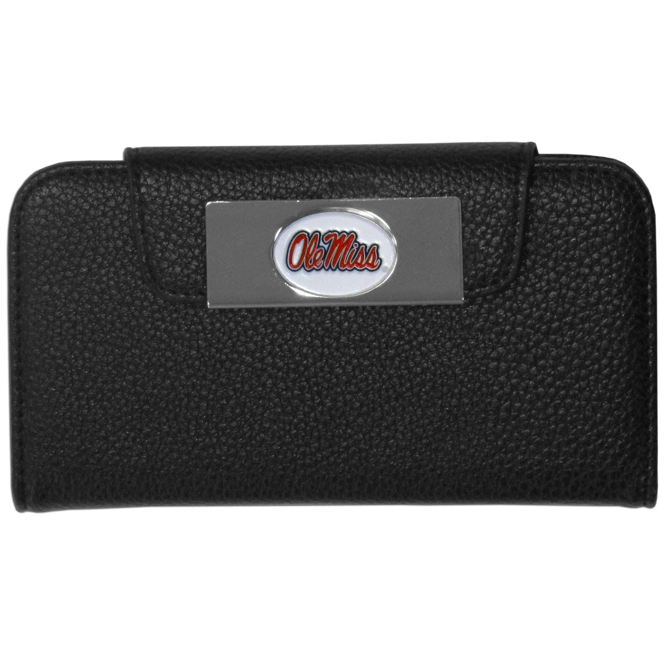 Mississippi Rebels iPhone 5/5S Wallet Case - This new & wildly popular case is ideal for those who like to travel light! The stylish case has an inner hard shell that securely holds your phone while allowing complete access to the phone's functionality. The flip cover has slots for credit cards, business cards and identification. The magnetic flip cover has a metal Mississippi Rebels emblem on a high polish chrome backing. Fits the iPhone 5/5S