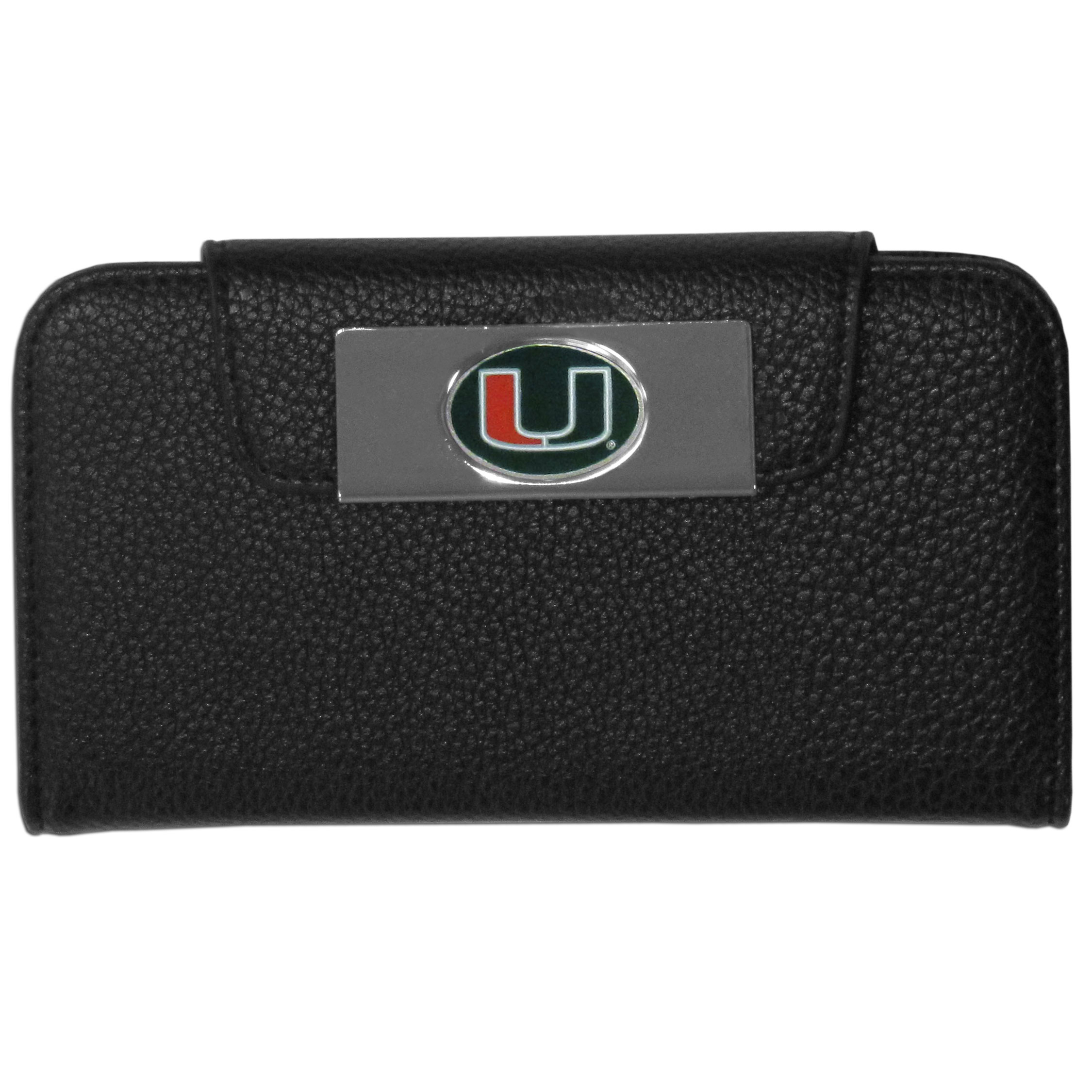 Miami Hurricanes iPhone 5/5S Wallet Case - This new & wildly popular case is ideal for those who like to travel light! The stylish case has an inner hard shell that securely holds your phone while allowing complete access to the phone's functionality. The flip cover has slots for credit cards, business cards and identification. The magnetic flip cover has a metal Miami Hurricanes emblem on a high polish chrome backing. Fits the iPhone 5/5S