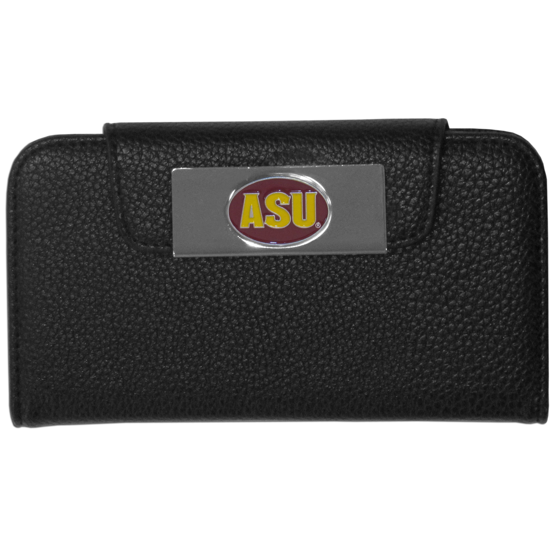 Arizona St. Sun Devils iPhone 5/5S Wallet Case - This new & wildly popular case is ideal for those who like to travel light! The stylish case has an inner hard shell that securely holds your phone while allowing complete access to the phone's functionality. The flip cover has slots for credit cards, business cards and identification. The magnetic flip cover has a metal Arizona St. Sun Devils emblem on a high polish chrome backing. Fits the iPhone 5/5S