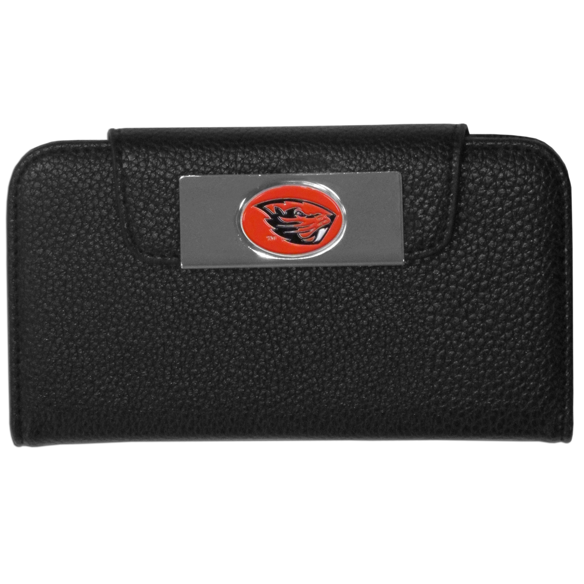 Oregon St. Beavers iPhone 5/5S Wallet Case - This new & wildly popular case is ideal for those who like to travel light! The stylish case has an inner hard shell that securely holds your phone while allowing complete access to the phone's functionality. The flip cover has slots for credit cards, business cards and identification. The magnetic flip cover has a metal Oregon St. Beavers emblem on a high polish chrome backing. Fits the iPhone 5/5S