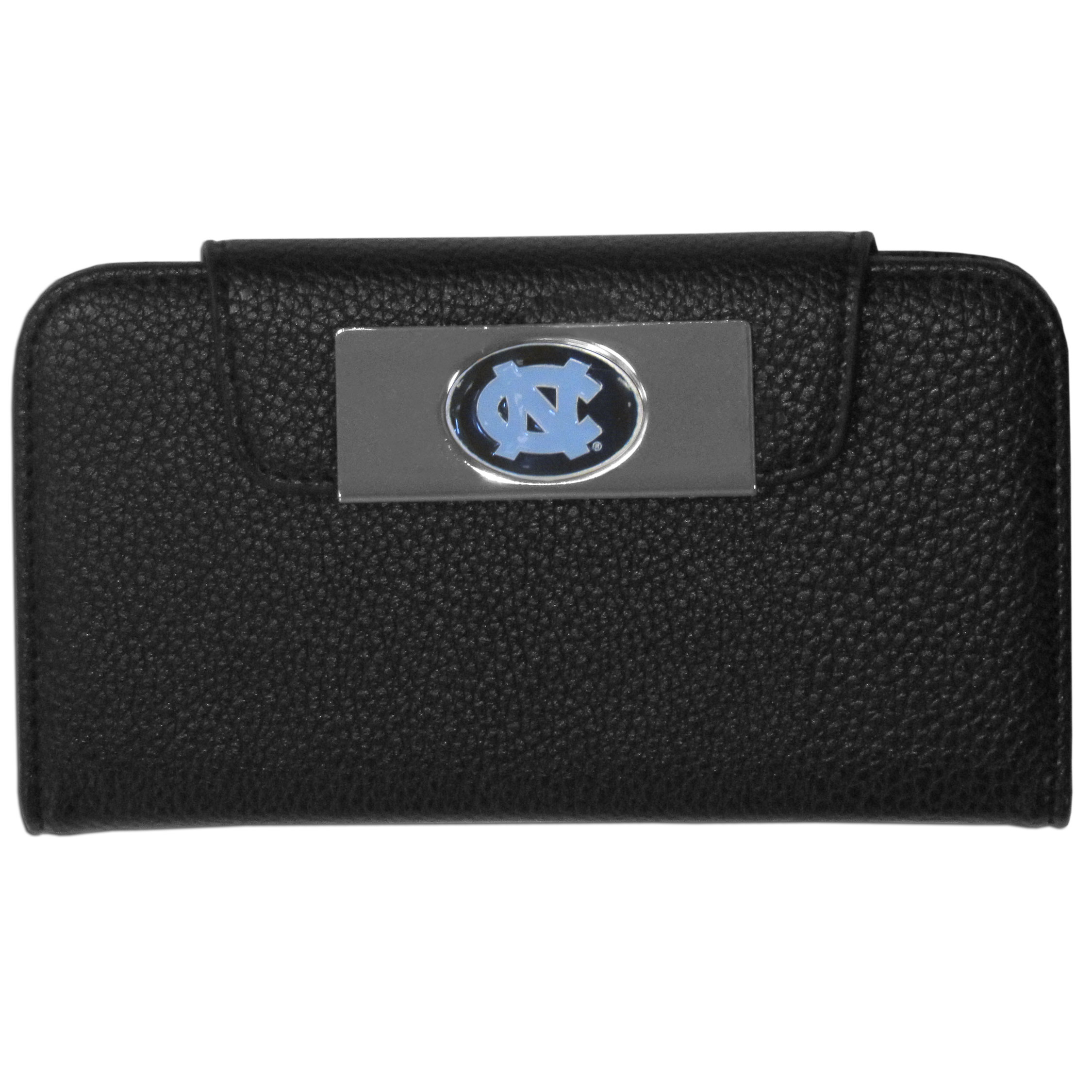 N. Carolina Tar Heels iPhone 5/5S Wallet Case - This new & wildly popular case is ideal for those who like to travel light! The stylish case has an inner hard shell that securely holds your phone while allowing complete access to the phone's functionality. The flip cover has slots for credit cards, business cards and identification. The magnetic flip cover has a metal N. Carolina Tar Heels emblem on a high polish chrome backing. Fits the iPhone 5/5S