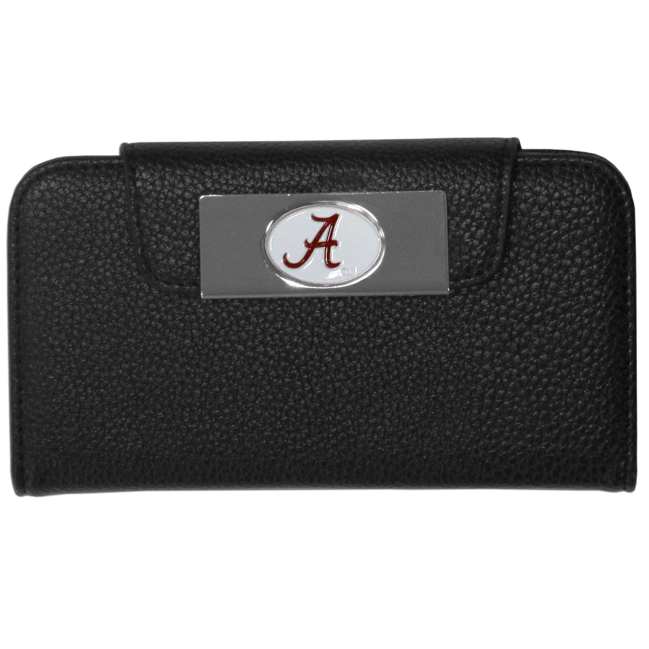 Alabama Crimson Tide Samsung Galaxy S4 Wallet Case - This new & wildly popular case is ideal for those who like to travel light! The stylish case has an inner hard shell that securely holds your phone while allowing complete access to the phone's functionality. The flip cover has slots for credit cards, business cards and identification. The magnetic flip cover has a metal Alabama Crimson Tide emblem on a high polish chrome backing. Fits the Samsung Galaxy S4