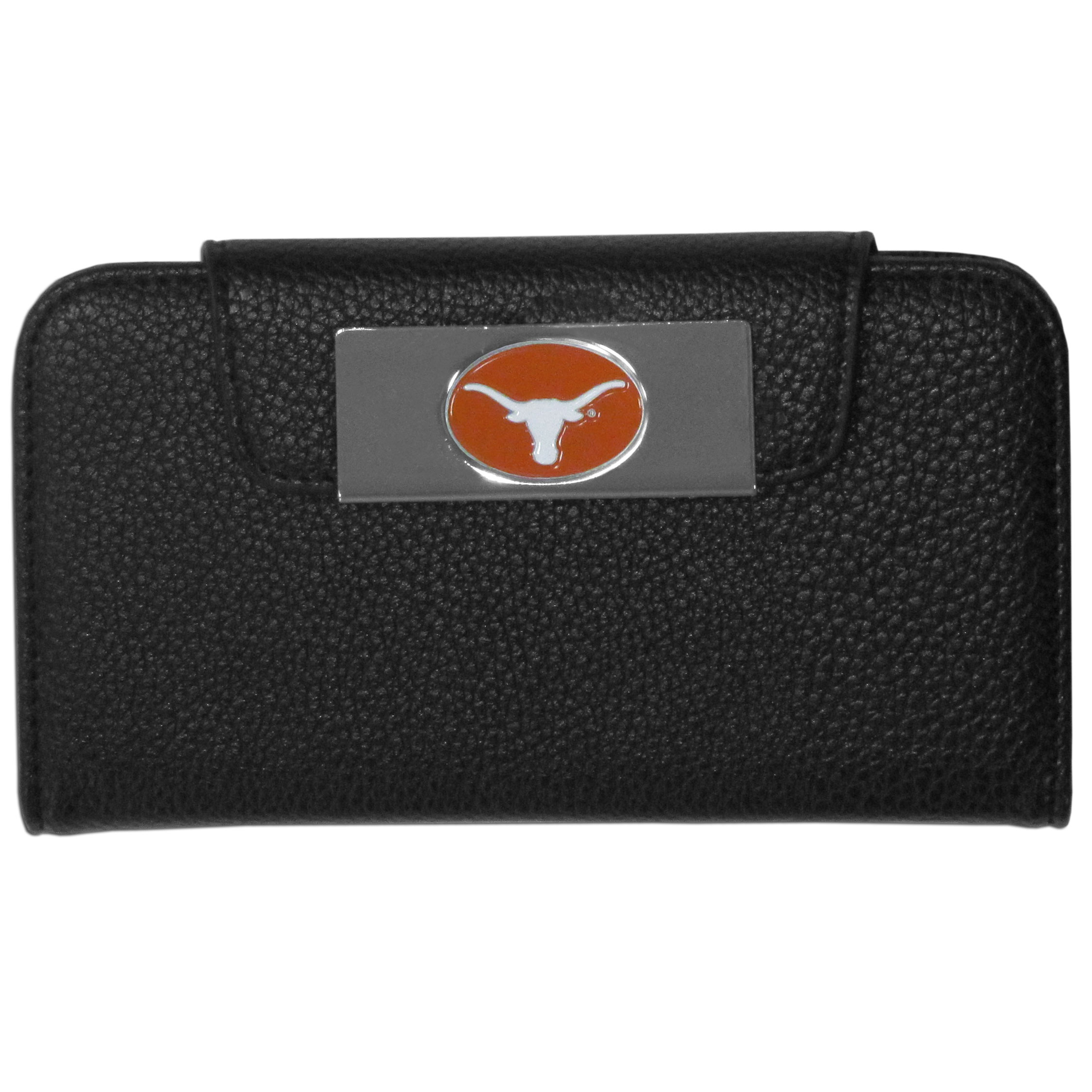 Texas Longhorns Samsung Galaxy S4 Wallet Case - This new & wildly popular case is ideal for those who like to travel light! The stylish case has an inner hard shell that securely holds your phone while allowing complete access to the phone's functionality. The flip cover has slots for credit cards, business cards and identification. The magnetic flip cover has a metal Texas Longhorns emblem on a high polish chrome backing. Fits the Samsung Galaxy S4
