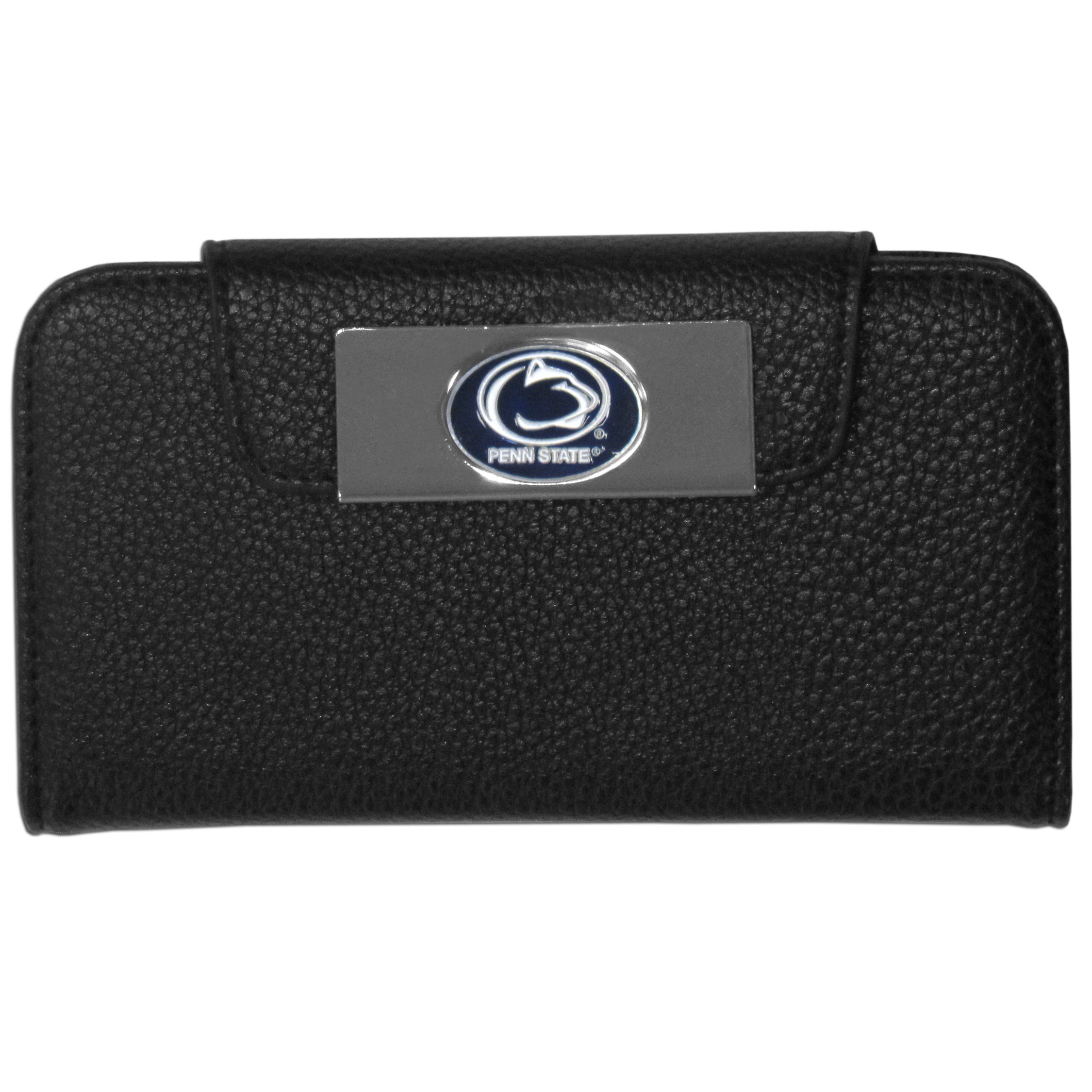 Penn St. Nittany Lions Samsung Galaxy S4 Wallet Case - This new & wildly popular case is ideal for those who like to travel light! The stylish case has an inner hard shell that securely holds your phone while allowing complete access to the phone's functionality. The flip cover has slots for credit cards, business cards and identification. The magnetic flip cover has a metal Penn St. Nittany Lions emblem on a high polish chrome backing. Fits the Samsung Galaxy S4