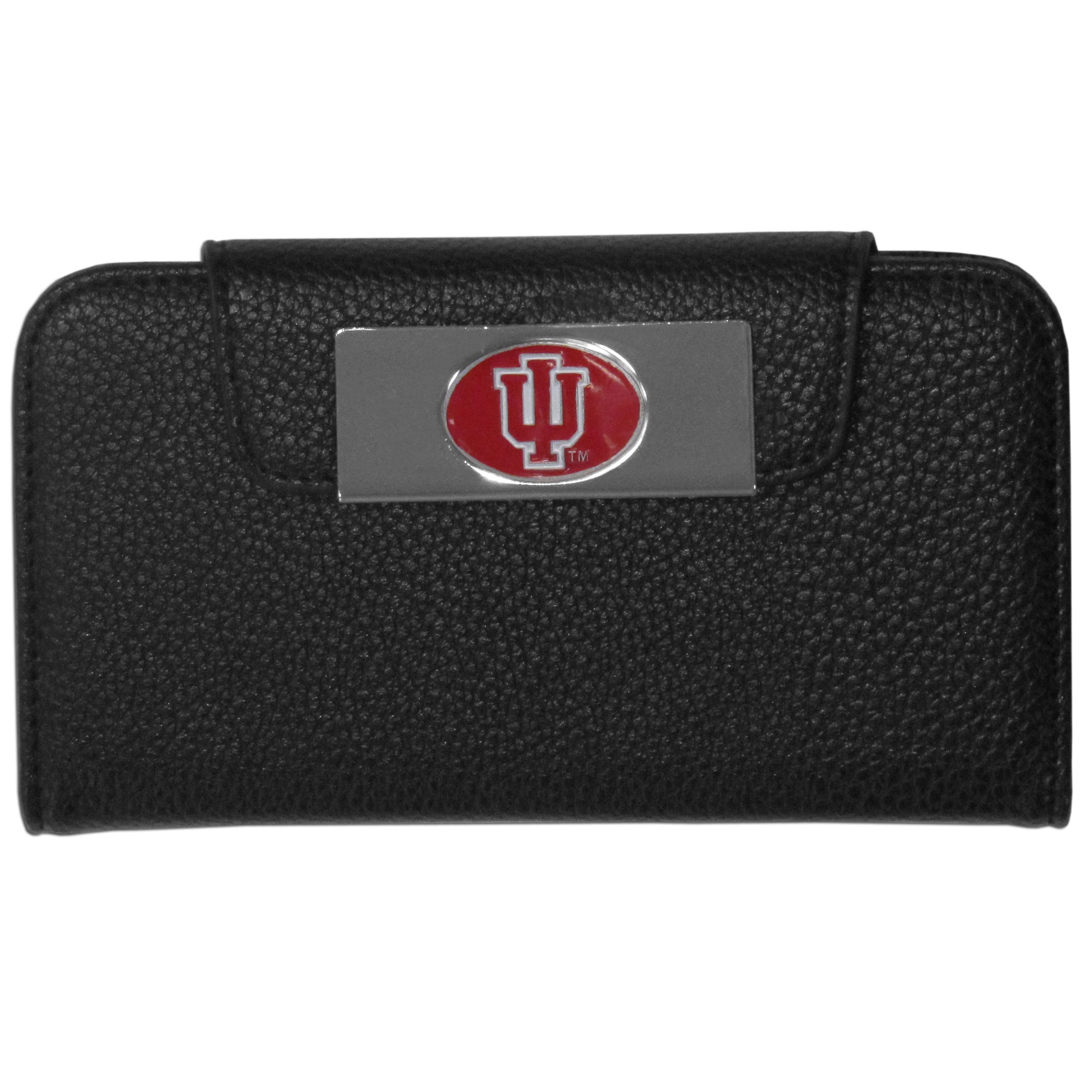 Indiana Hoosiers Samsung Galaxy S4 Wallet Case - This new & wildly popular case is ideal for those who like to travel light! The stylish case has an inner hard shell that securely holds your phone while allowing complete access to the phone's functionality. The flip cover has slots for credit cards, business cards and identification. The magnetic flip cover has a metal Indiana Hoosiers emblem on a high polish chrome backing. Fits the Samsung Galaxy S4