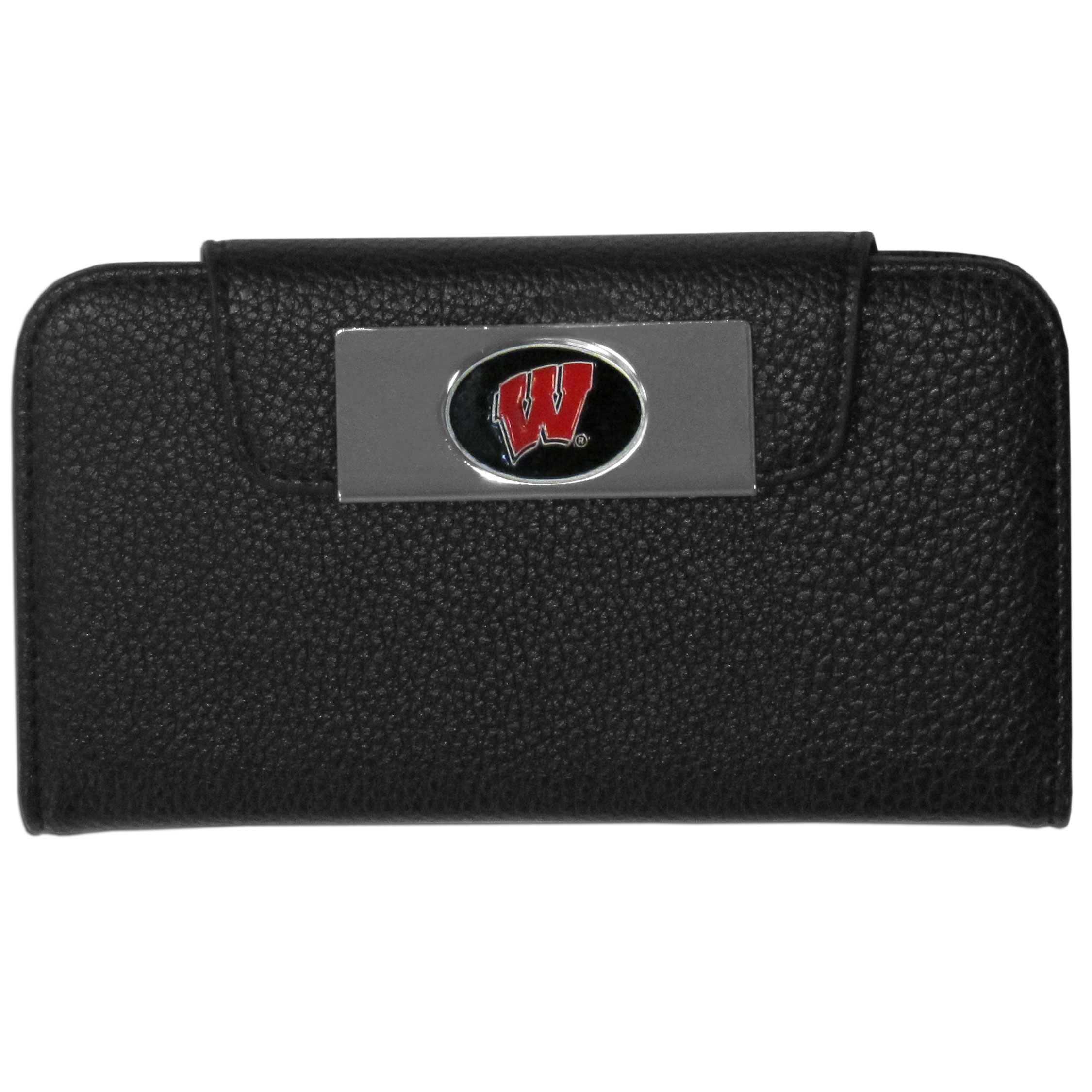 Wisconsin Badgers Samsung Galaxy S4 Wallet Case - This new & wildly popular case is ideal for those who like to travel light! The stylish case has an inner hard shell that securely holds your phone while allowing complete access to the phone's functionality. The flip cover has slots for credit cards, business cards and identification. The magnetic flip cover has a metal Wisconsin Badgers emblem on a high polish chrome backing. Fits the Samsung Galaxy S4