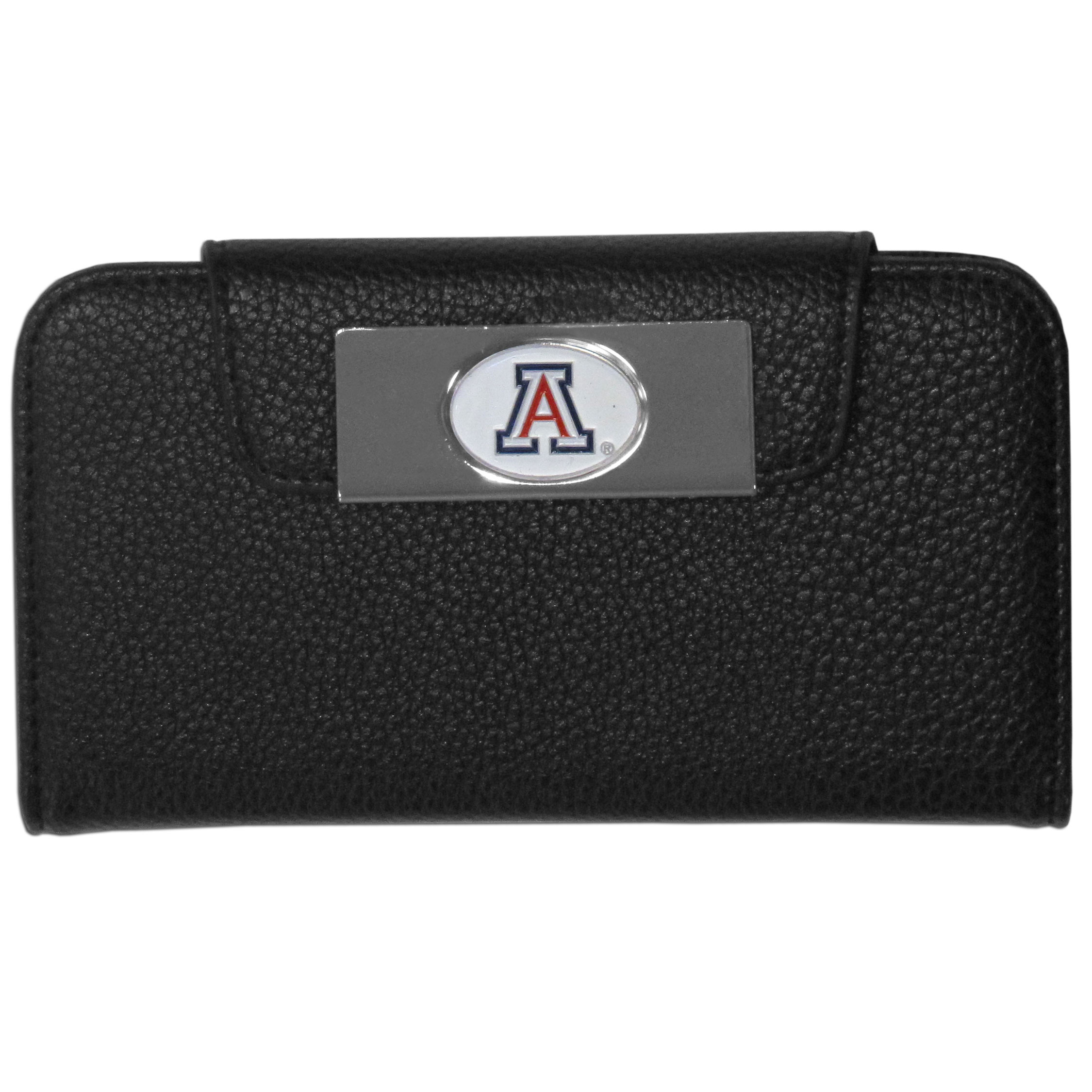 Arizona Wildcats Samsung Galaxy S4 Wallet Case - This new & wildly popular case is ideal for those who like to travel light! The stylish case has an inner hard shell that securely holds your phone while allowing complete access to the phone's functionality. The flip cover has slots for credit cards, business cards and identification. The magnetic flip cover has a metal Arizona Wildcats emblem on a high polish chrome backing. Fits the Samsung Galaxy S4
