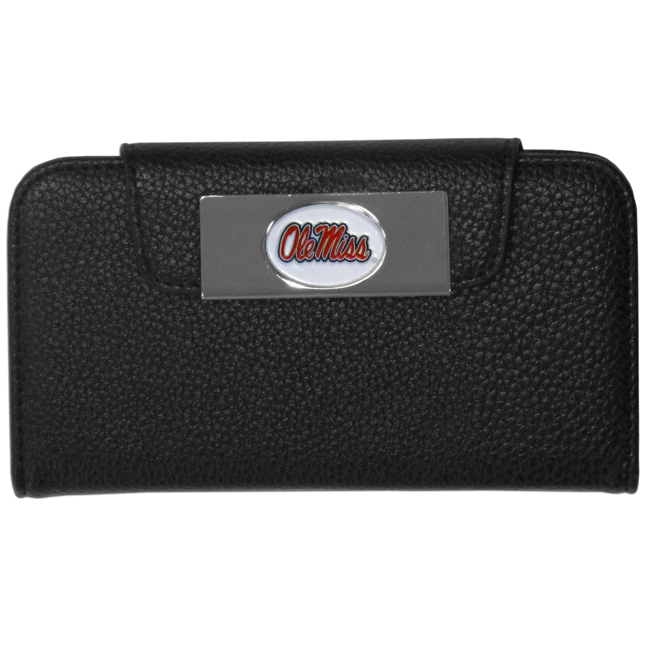 Mississippi Rebels Samsung Galaxy S4 Wallet Case - This new & wildly popular case is ideal for those who like to travel light! The stylish case has an inner hard shell that securely holds your phone while allowing complete access to the phone's functionality. The flip cover has slots for credit cards, business cards and identification. The magnetic flip cover has a metal Mississippi Rebels emblem on a high polish chrome backing. Fits the Samsung Galaxy S4