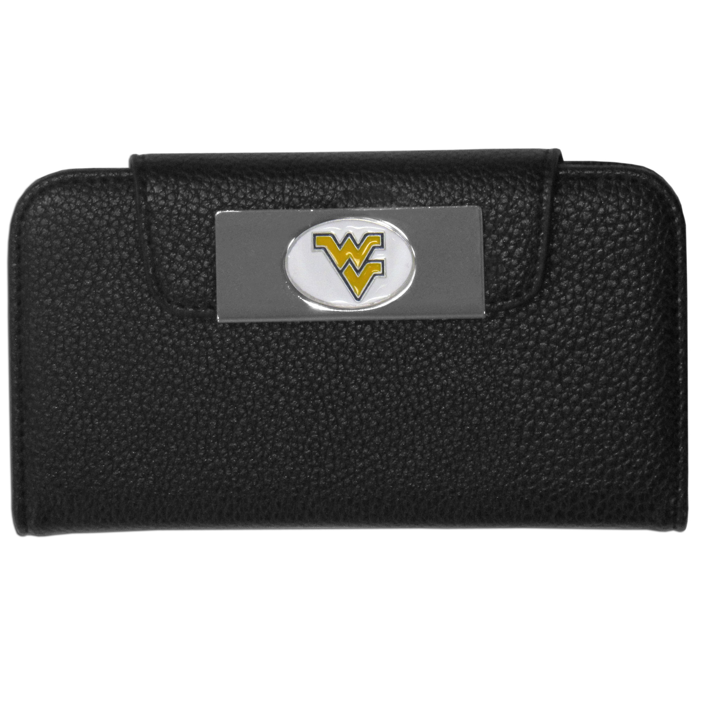 W. Virginia Mountaineers Samsung Galaxy S4 Wallet Case - This new & wildly popular case is ideal for those who like to travel light! The stylish case has an inner hard shell that securely holds your phone while allowing complete access to the phone's functionality. The flip cover has slots for credit cards, business cards and identification. The magnetic flip cover has a metal W. Virginia Mountaineers emblem on a high polish chrome backing. Fits the Samsung Galaxy S4